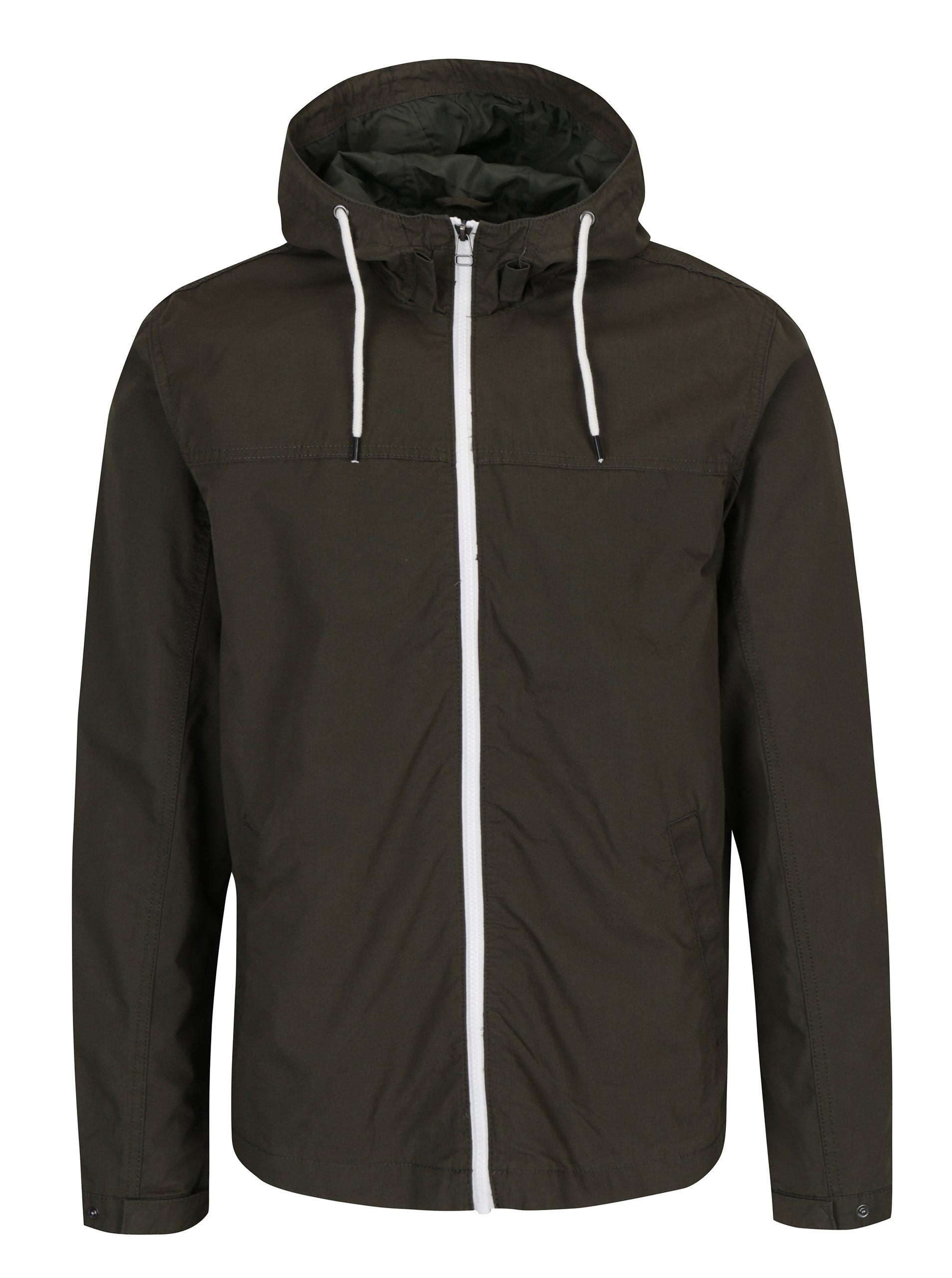 Khaki pánská bunda s kapucí Jack & Jones Floor