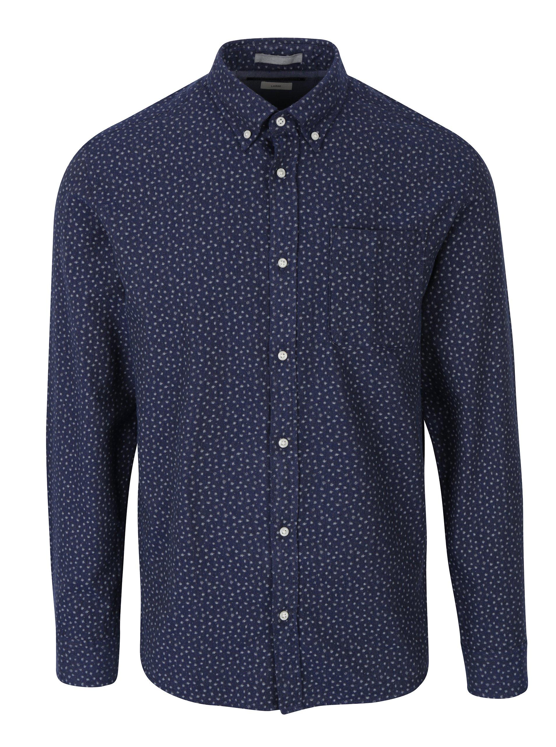 Tmavě modrá vzorovaná slim fit košile Jack & Jones Blue Fix