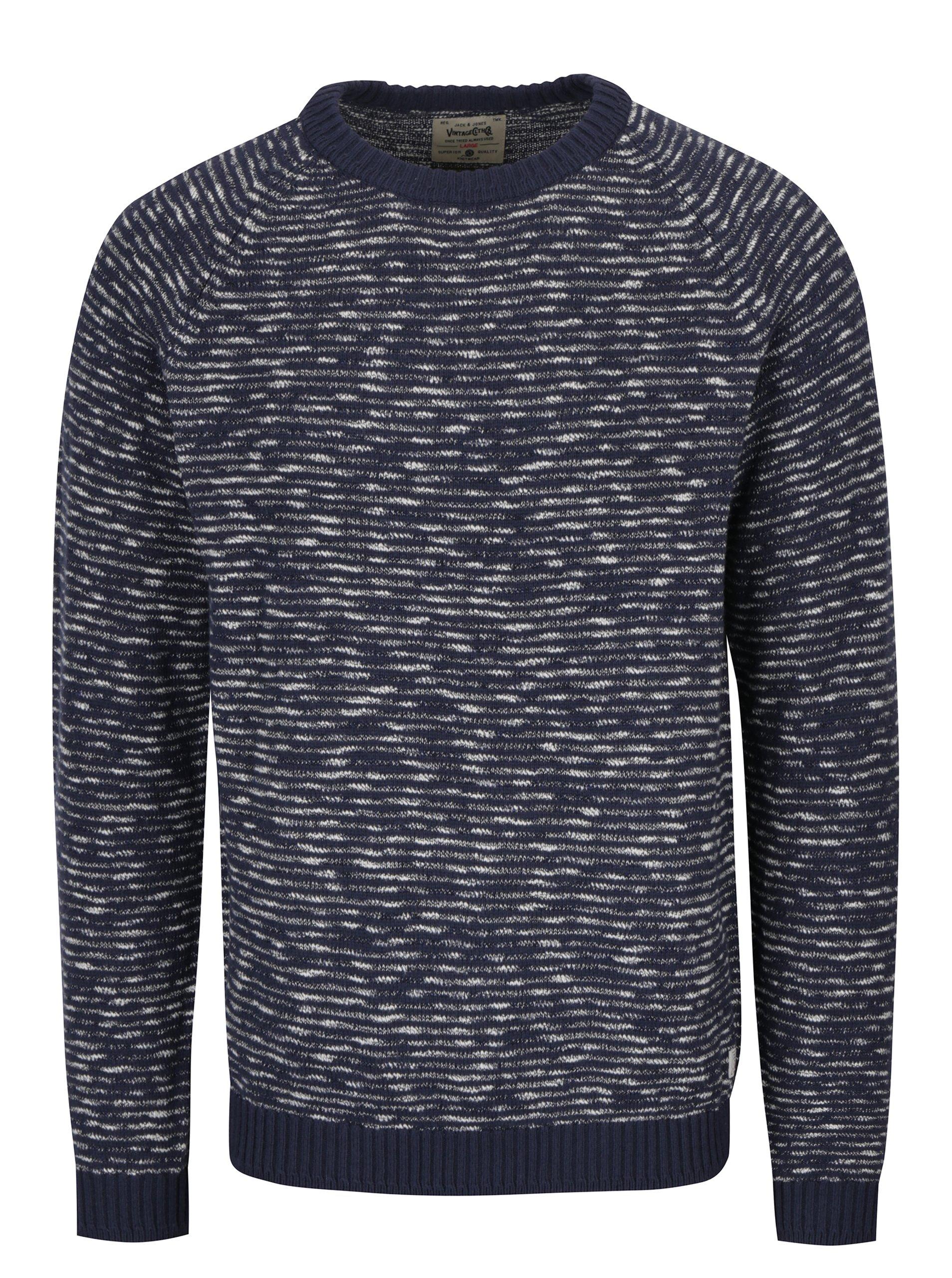 Tmavě modrý vzorovaný svetr s příměsí lnu Jack & Jones Joey