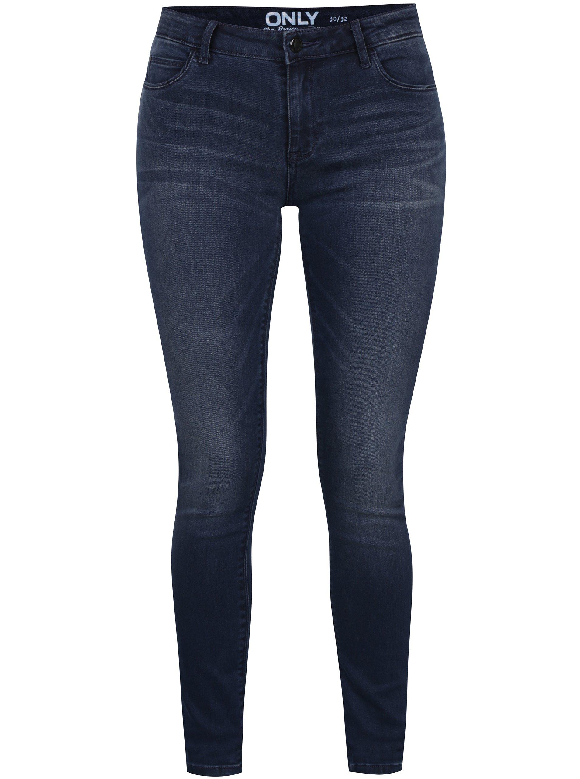 Tmavě modré skinny džíny s vyšisovaným efektem ONLY Carmen