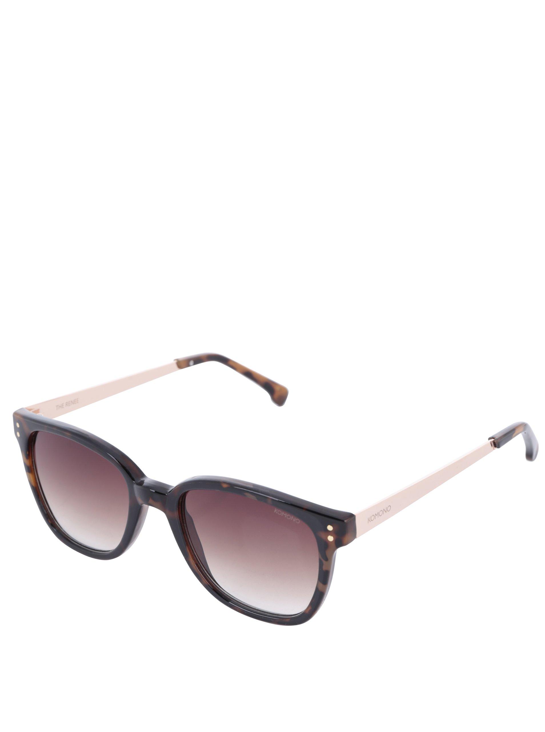 Tmavohnedé dámske vzorované slnečné okuliare Komono Renee