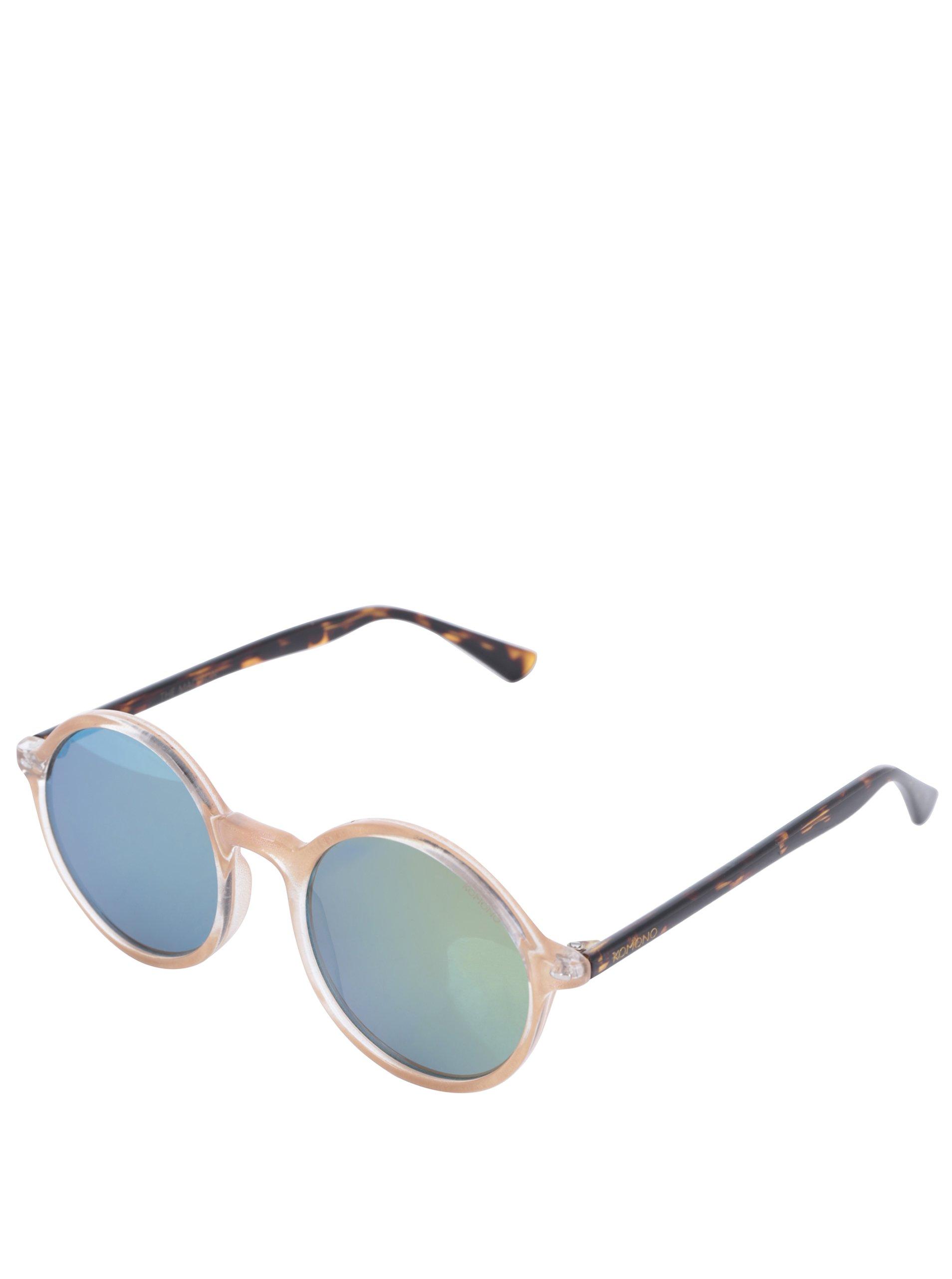 Béžové unisex kulaté sluneční brýle Komono Madison