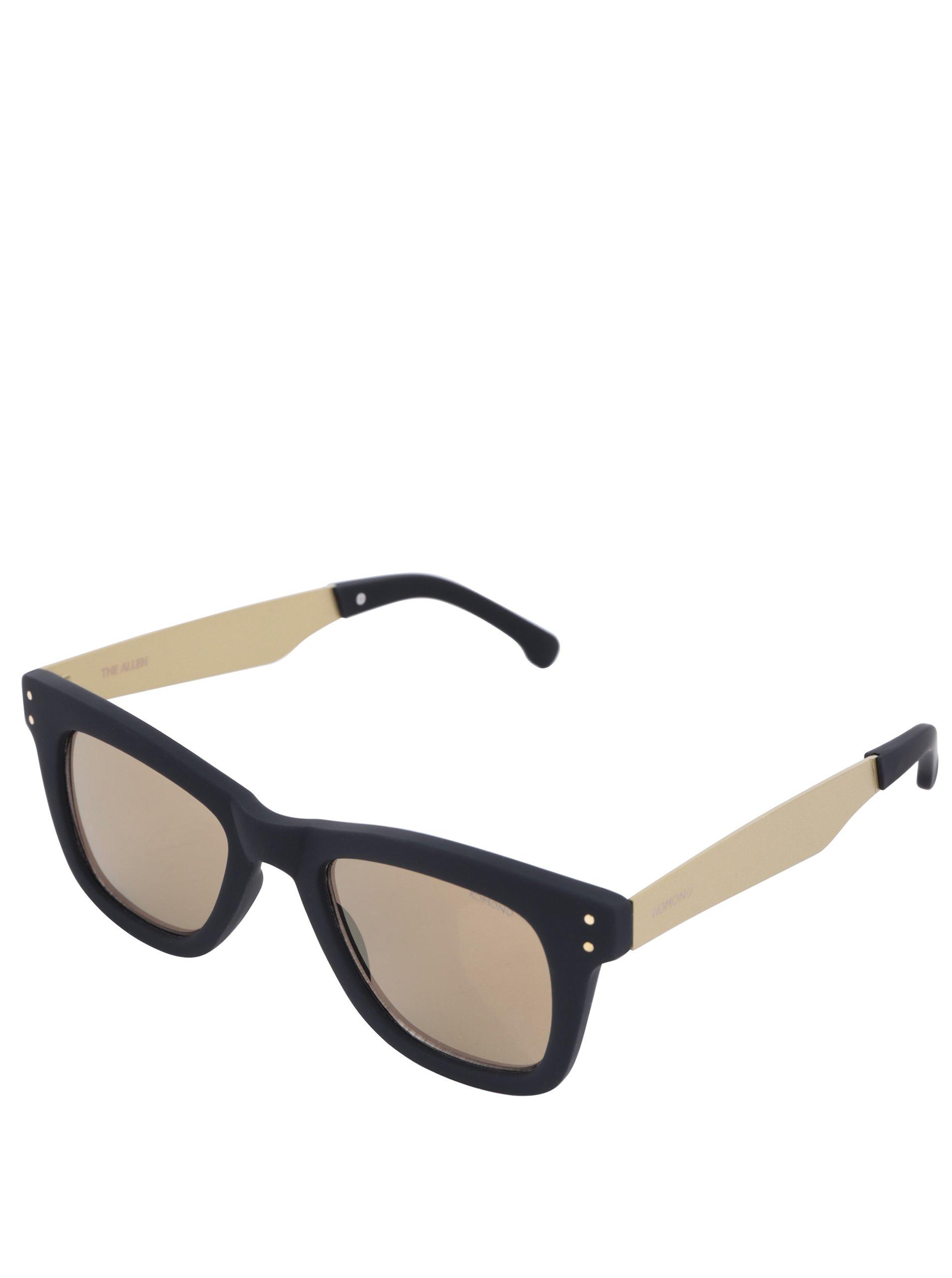 Čierne unisex slnečné okuliare s postrannicami v zlatej farbe Komono Allen