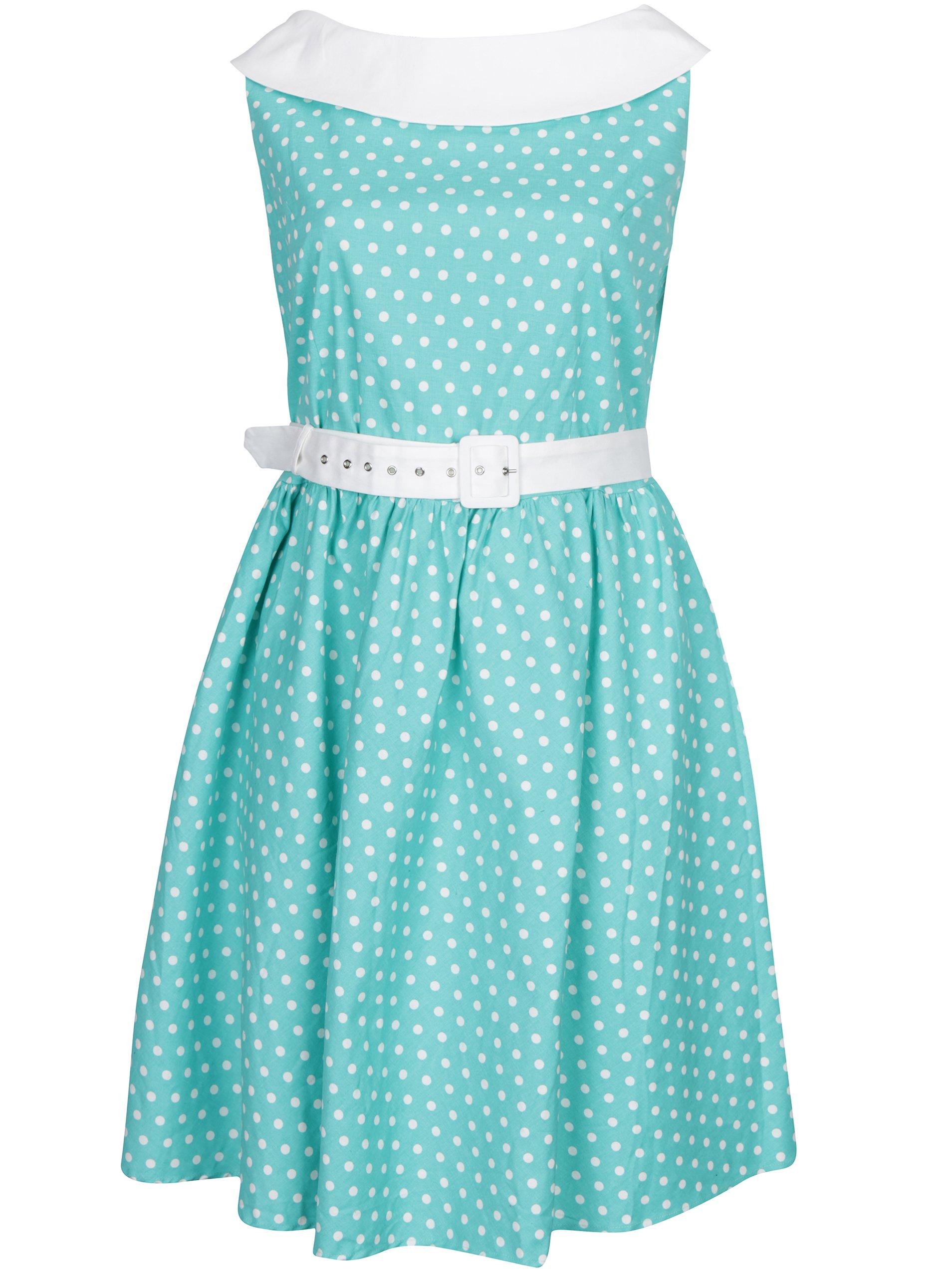 9b157d1e1c45 Tyrkysové puntíkované šaty s dvěma pásky Dolly   Dotty Cindy ŽENY   Šaty    šaty na