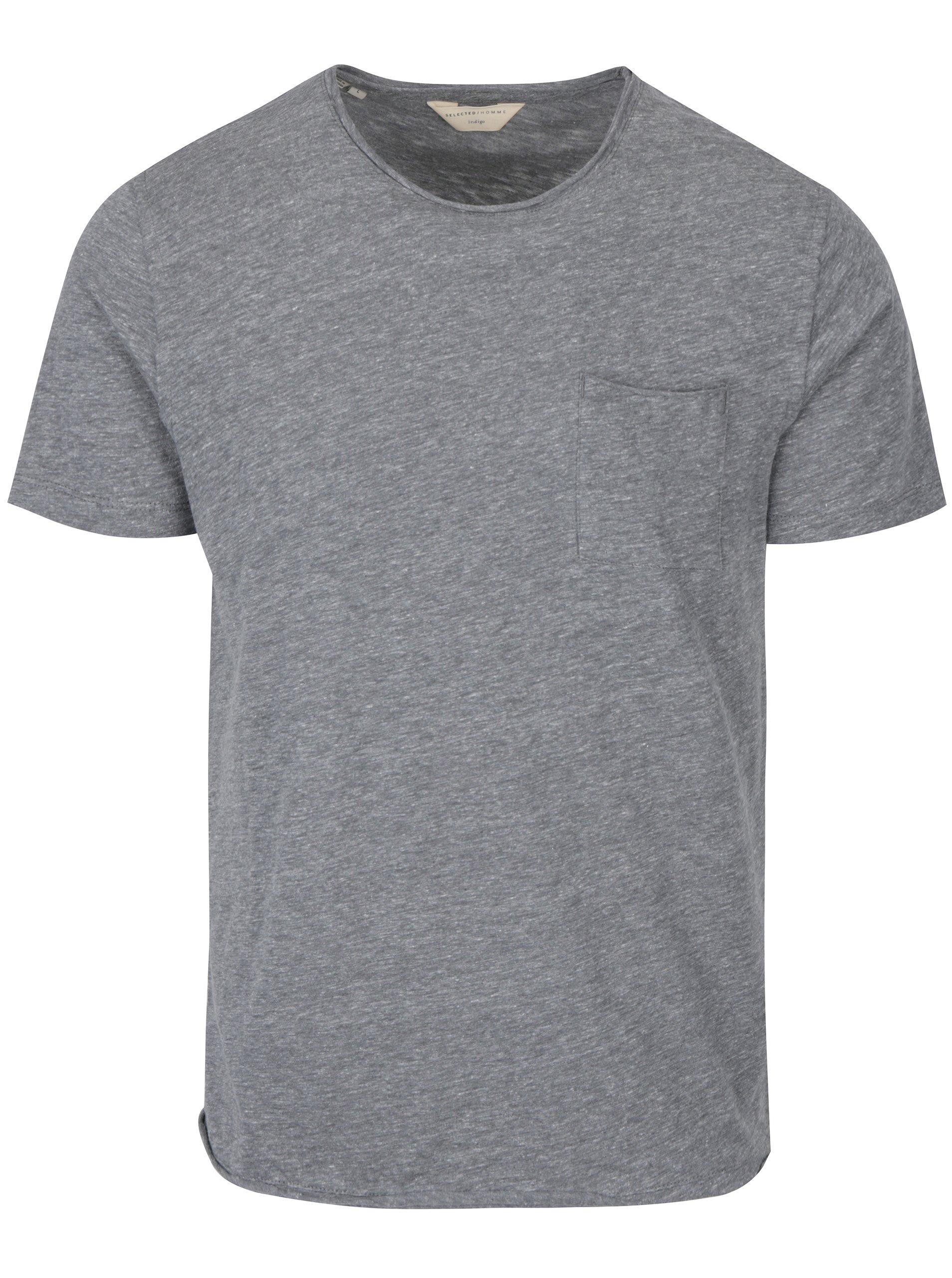 Šedé žíhané tričko s kapsou Selected Homme Gravel