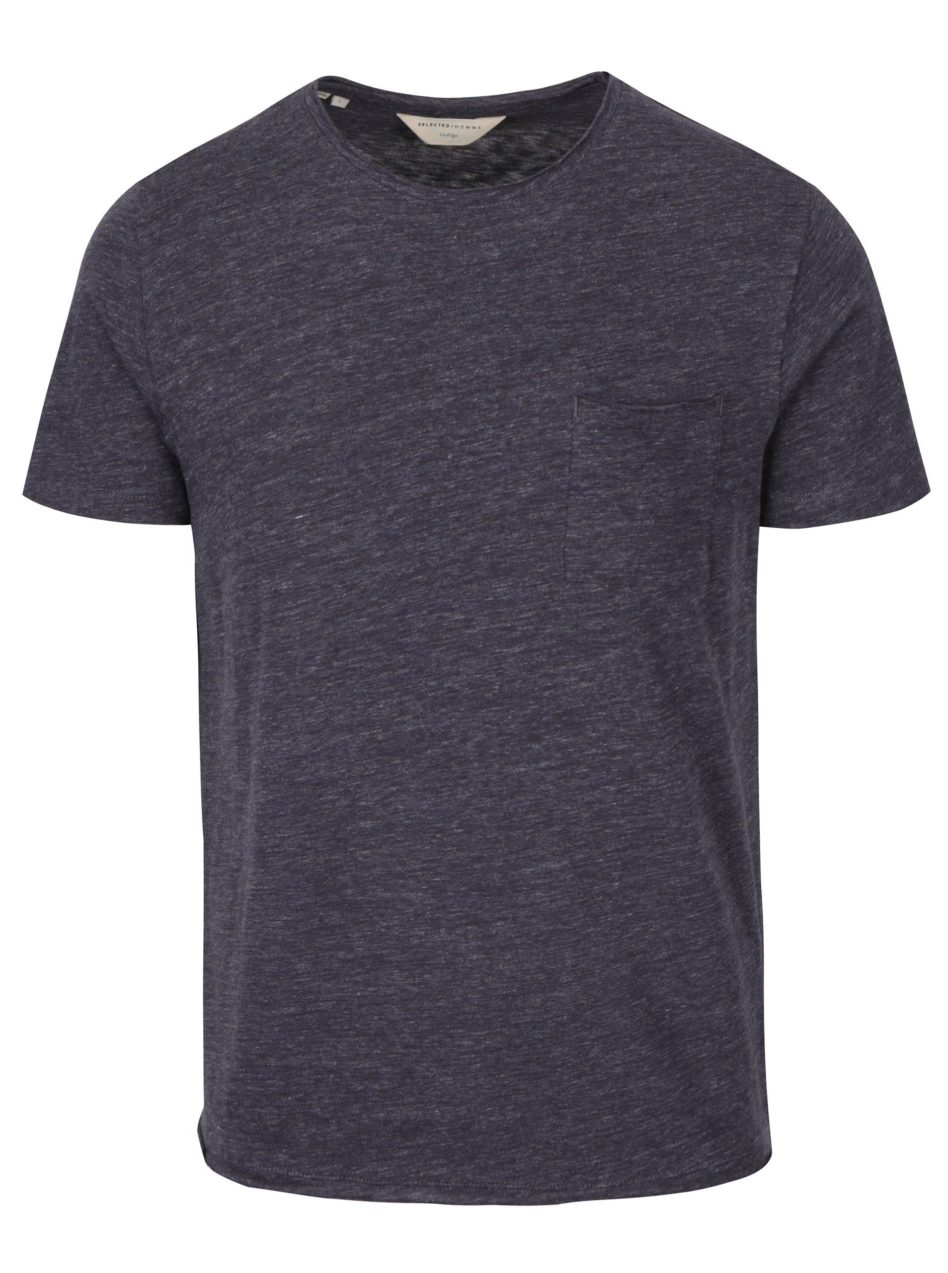 Tmavě šedé žíhané tričko s kapsou Selected Homme Gravel