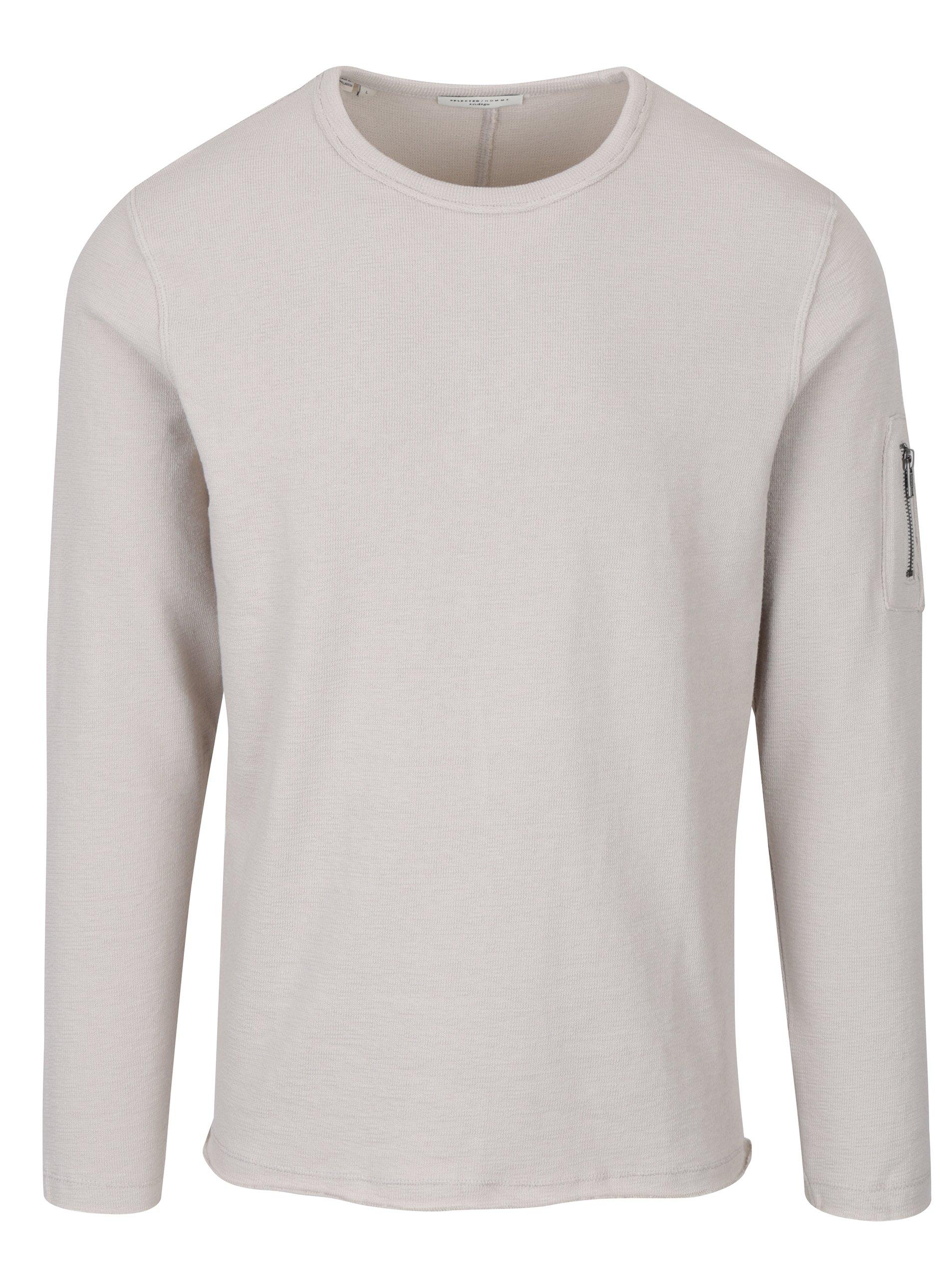 Béžové tričko s dlouhým rukávem Selected Homme Daniel