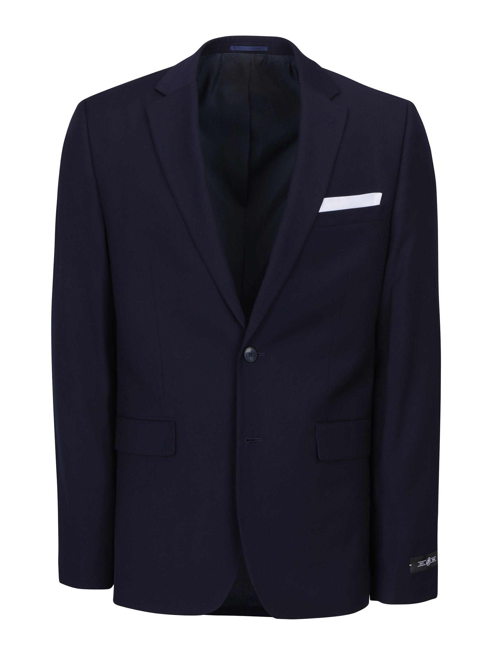 Tmavomodré oblekové slim sako Burton Menswear London d399aa32c56