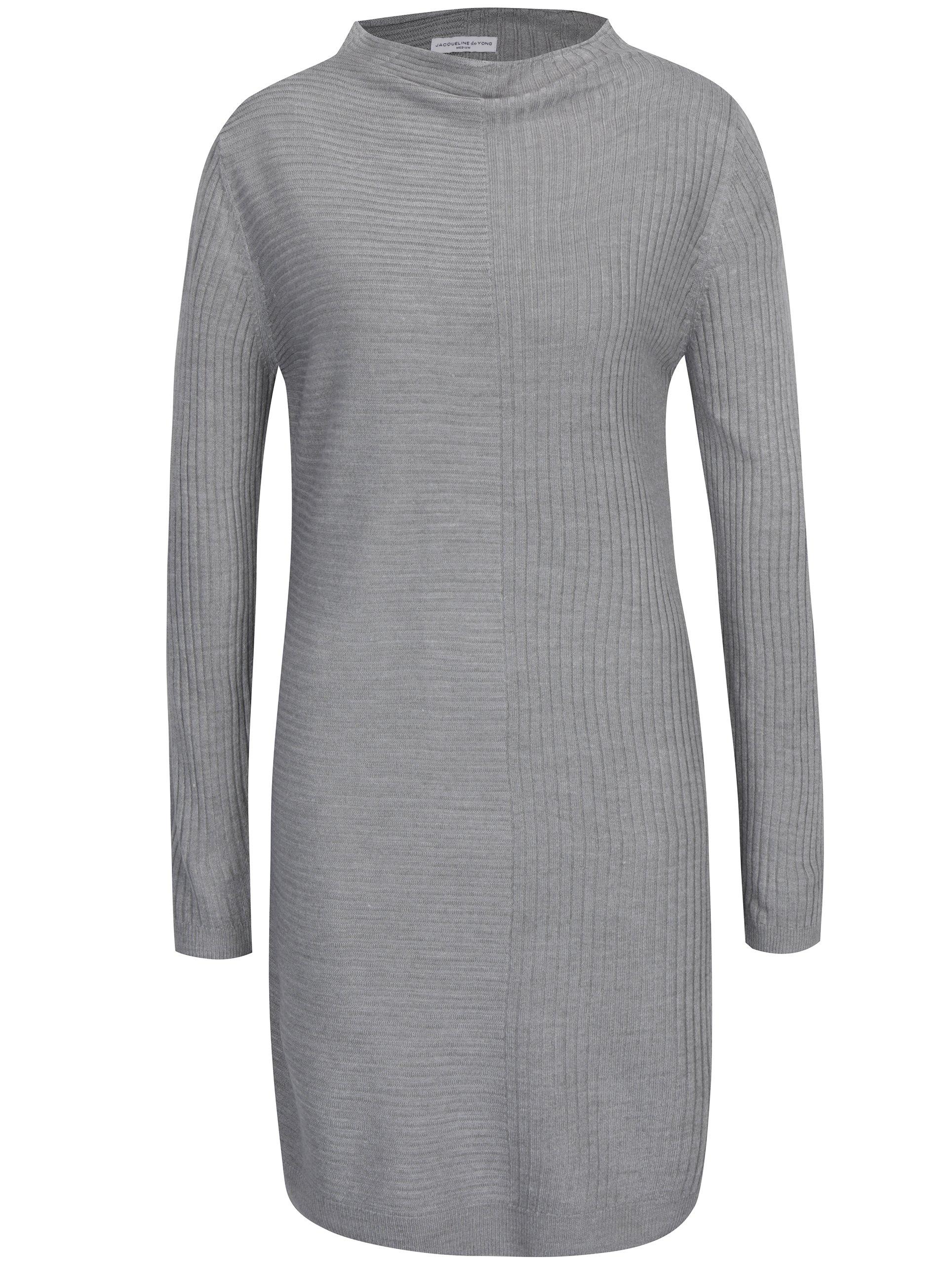 9a294734a8c4 Šedé svetrové žebrované šaty Jacqueline de Yong Mindy ŽENY   Šaty   šaty na denní  nošení