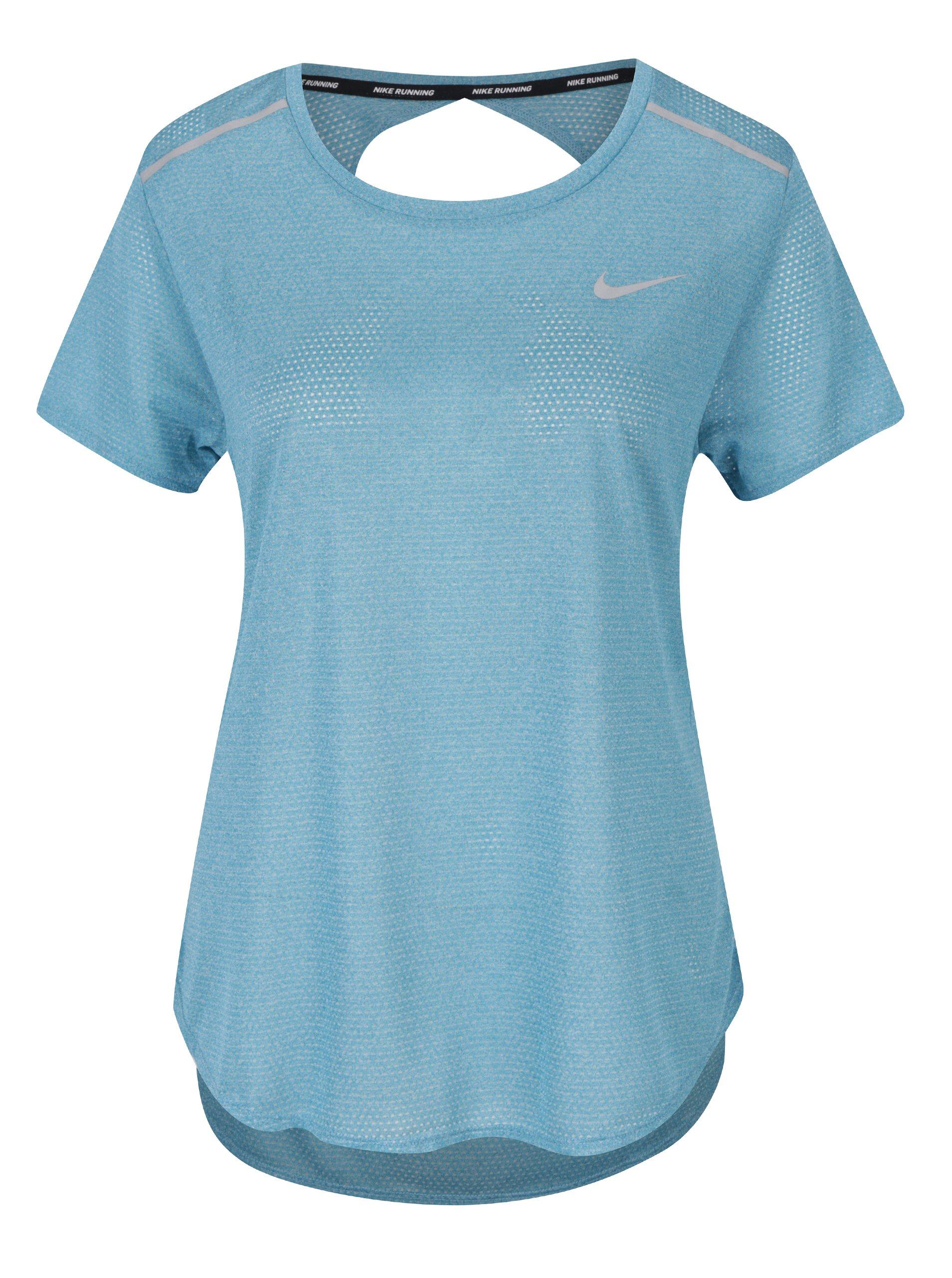 Tyrkysové dámské funkční tričko s průstřihem na zádech Nike