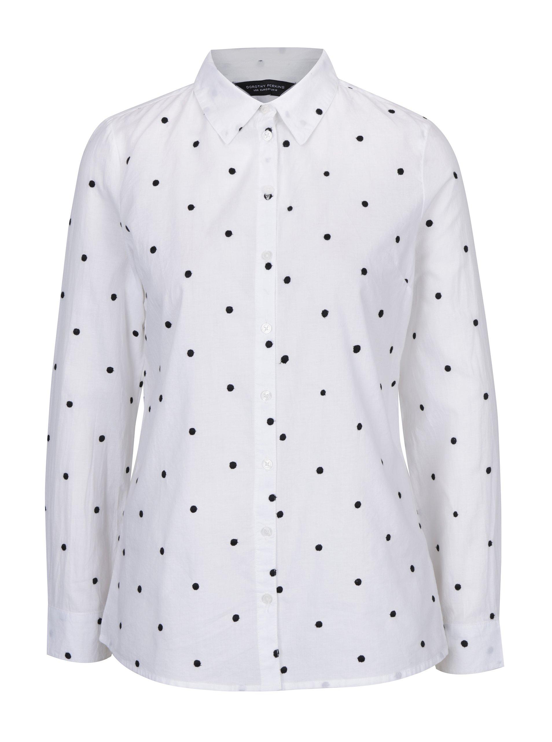 8c51b4a75c62 Bílá puntíkovaná košile Dorothy Perkins ŽENY   Topy