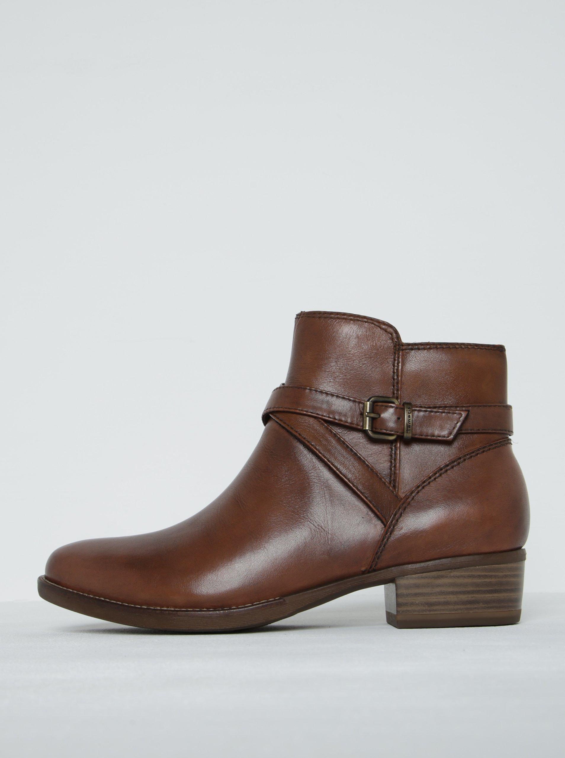 Hnědé kožené kotníkové boty s tenkým páskem a přezkou Tamaris