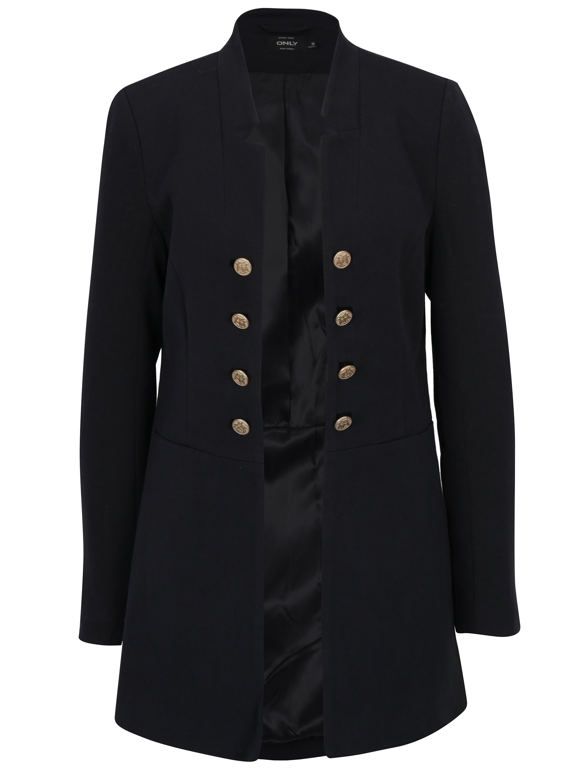 černé dlouhé sako s ozdobnými knoflíky ONLY Jemina