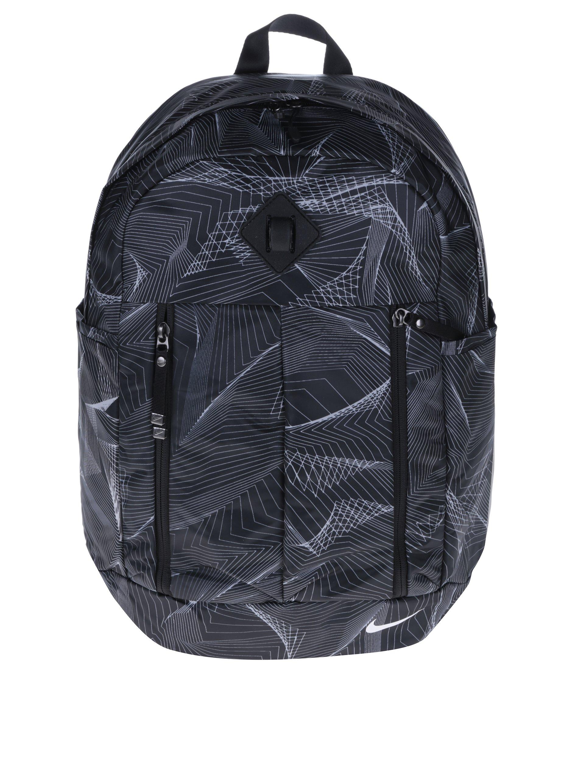 Černý vzorovaný voděodolný batoh Nike Auralux