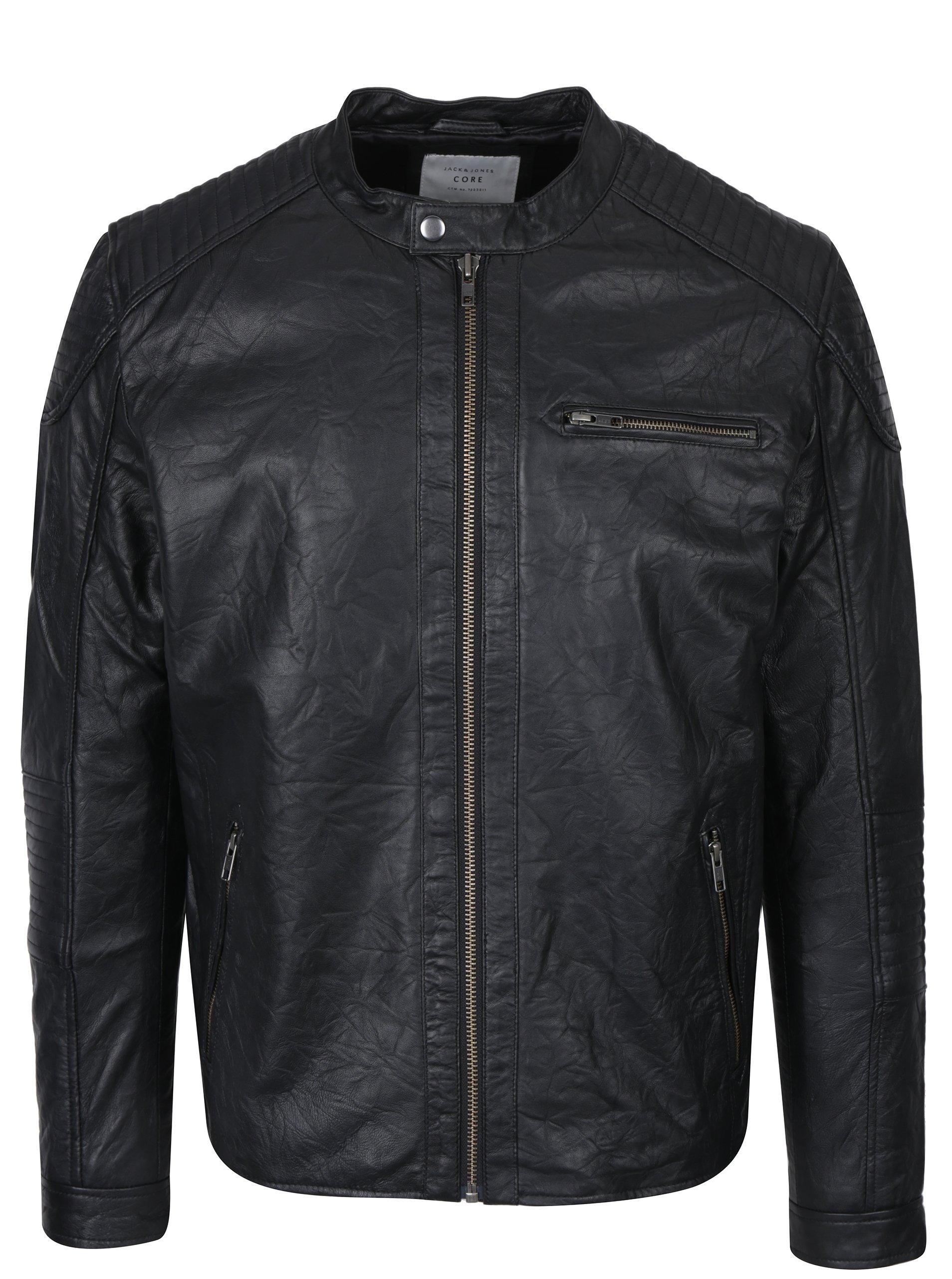 Černá kožená bunda Jack & Jones Cop
