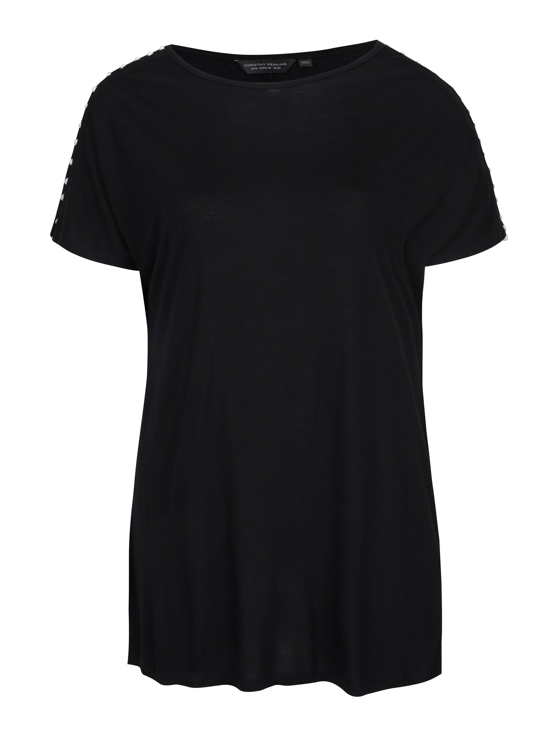 Černé dlouhé tričko s aplikací na ramenou Dorothy Perkins Curve