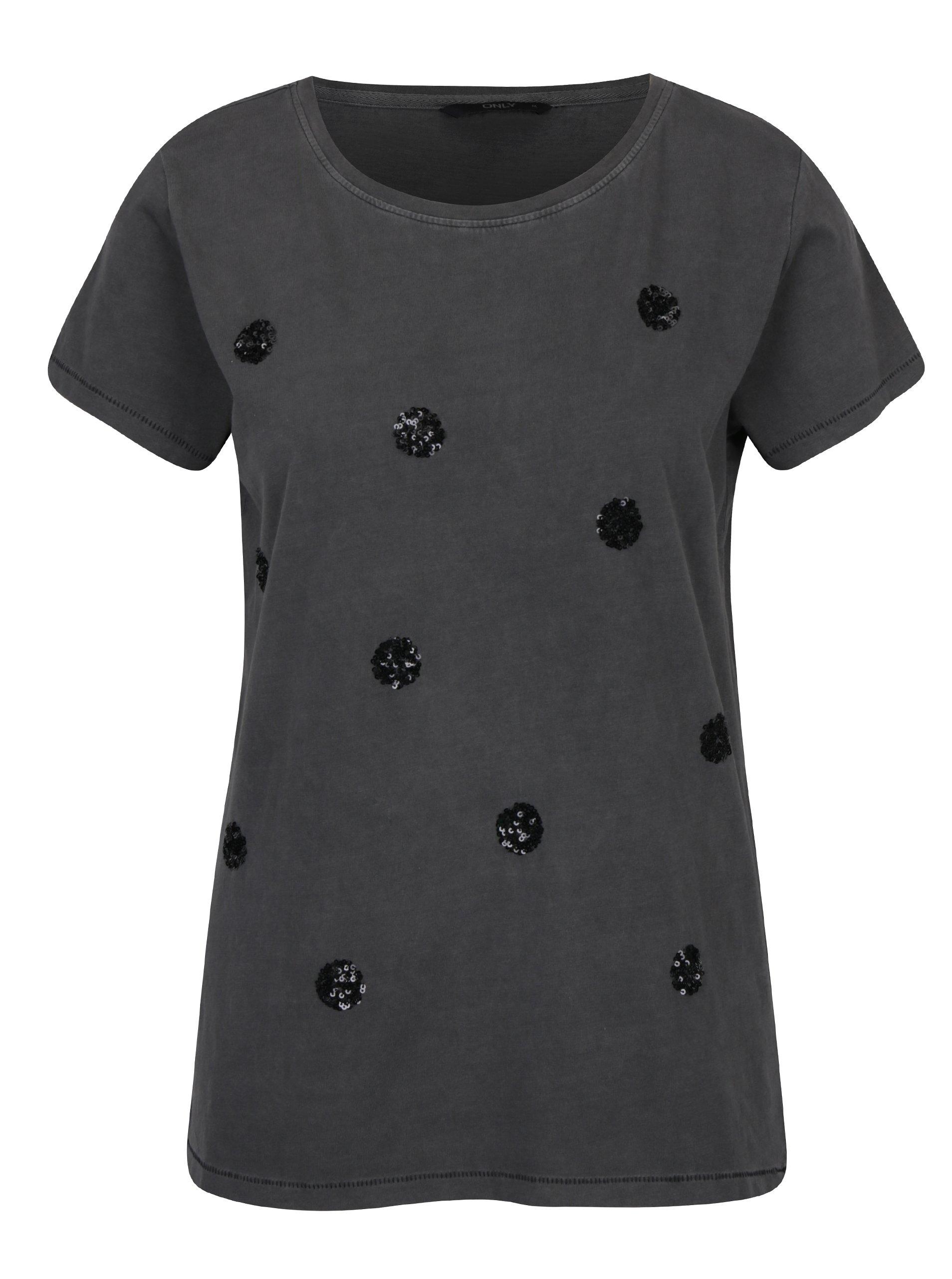 Tmavě šedé tričko s flitrovými detaily ONLY Nikko