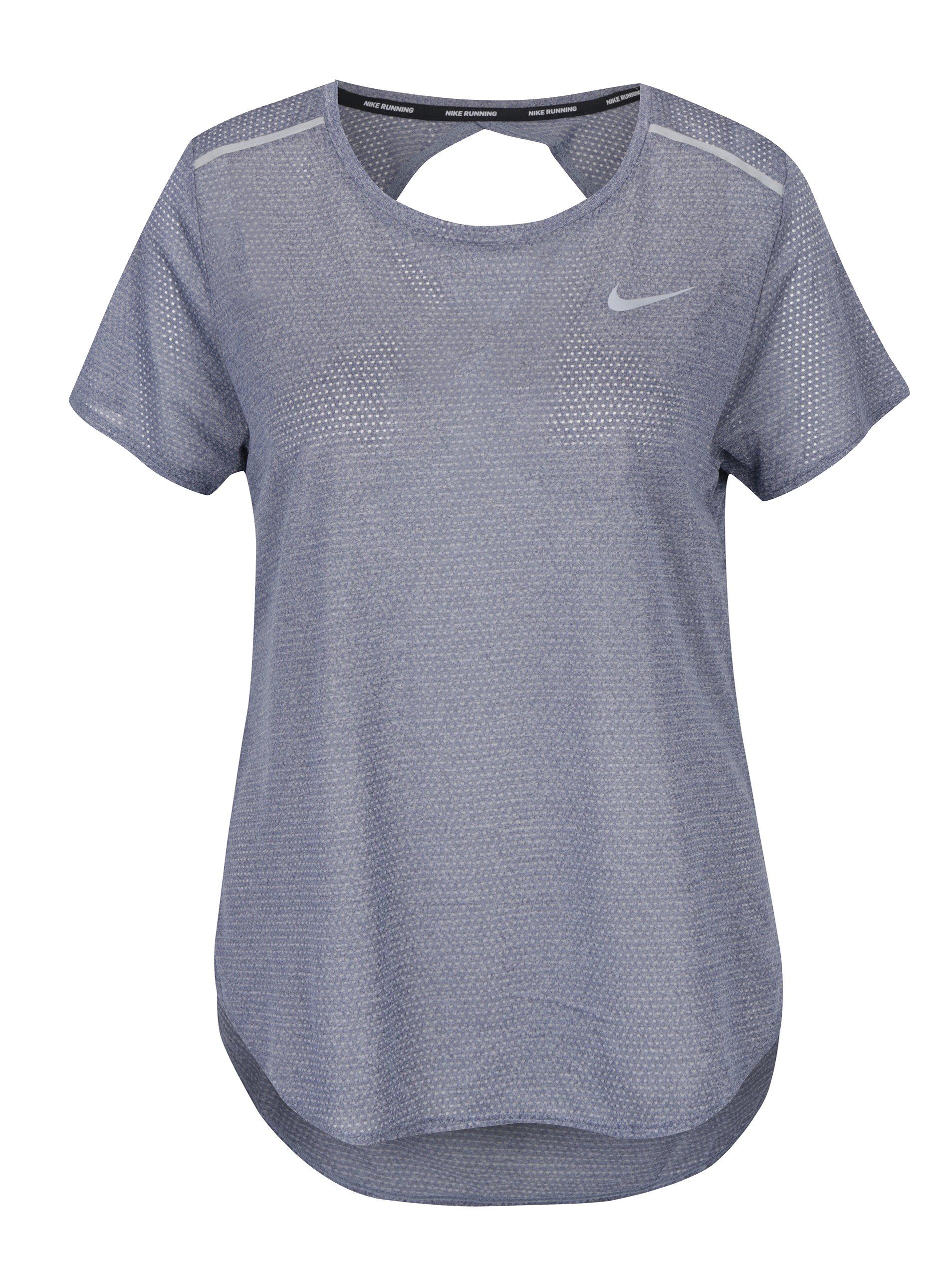 Šedomodré průsvitné funkční dámské tričko s výstřihem na zádech Nike