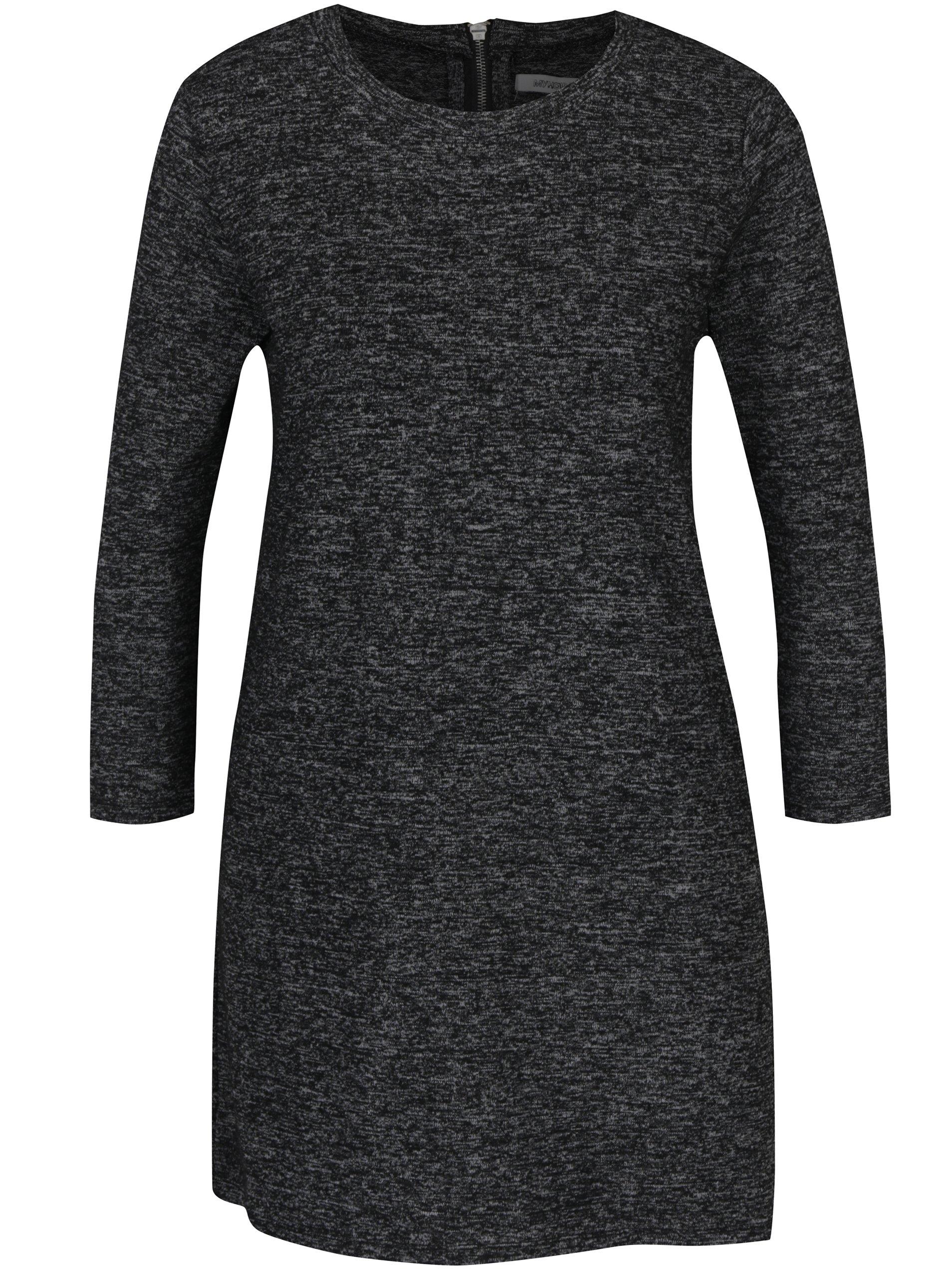 Tmavě šedé svetrové minišaty s 3/4 rukávy Haily´s Dina