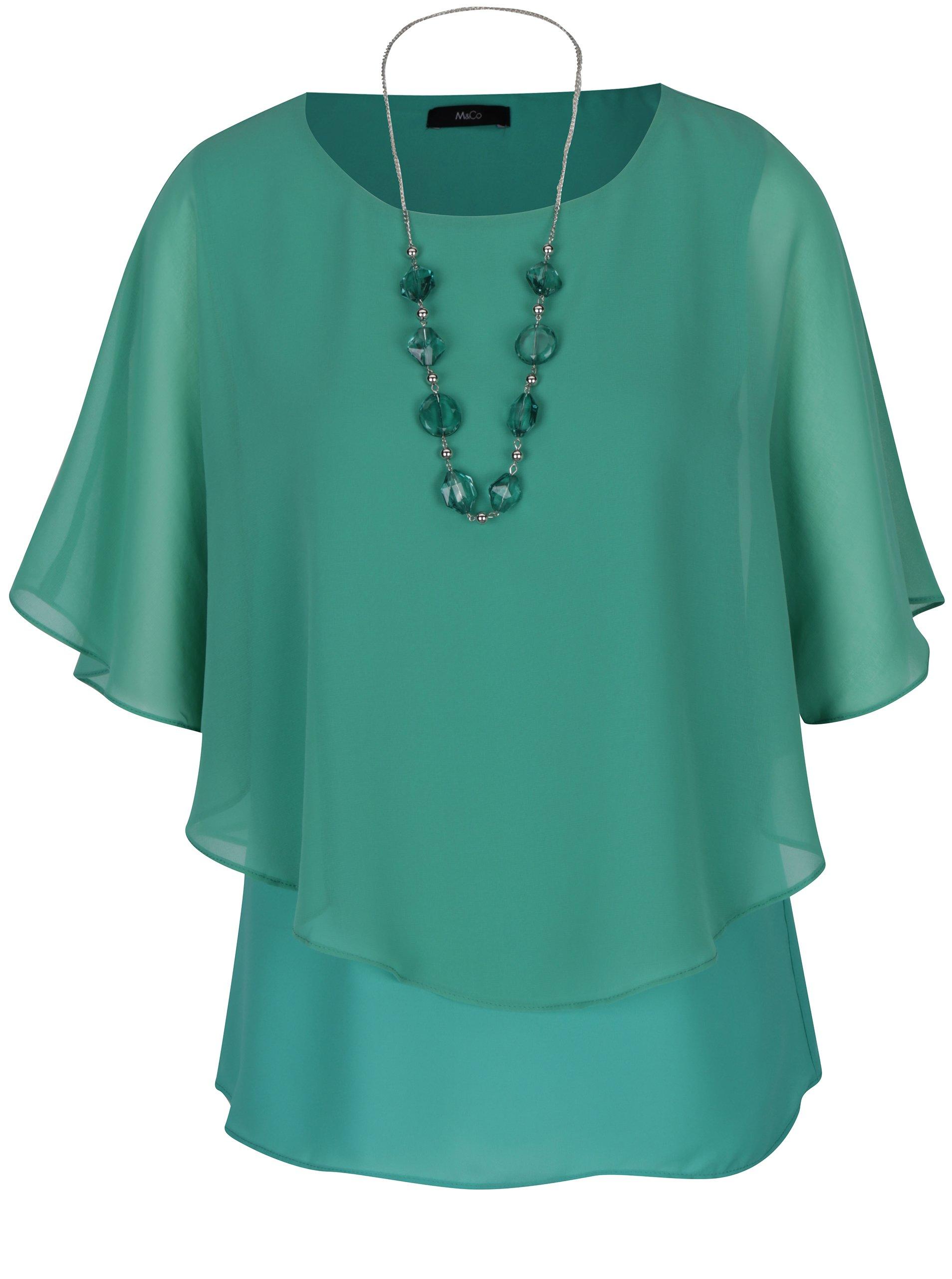 1005567116b Zelená volná halenka s netopýřími rukávy a náhrdelníkem M Co