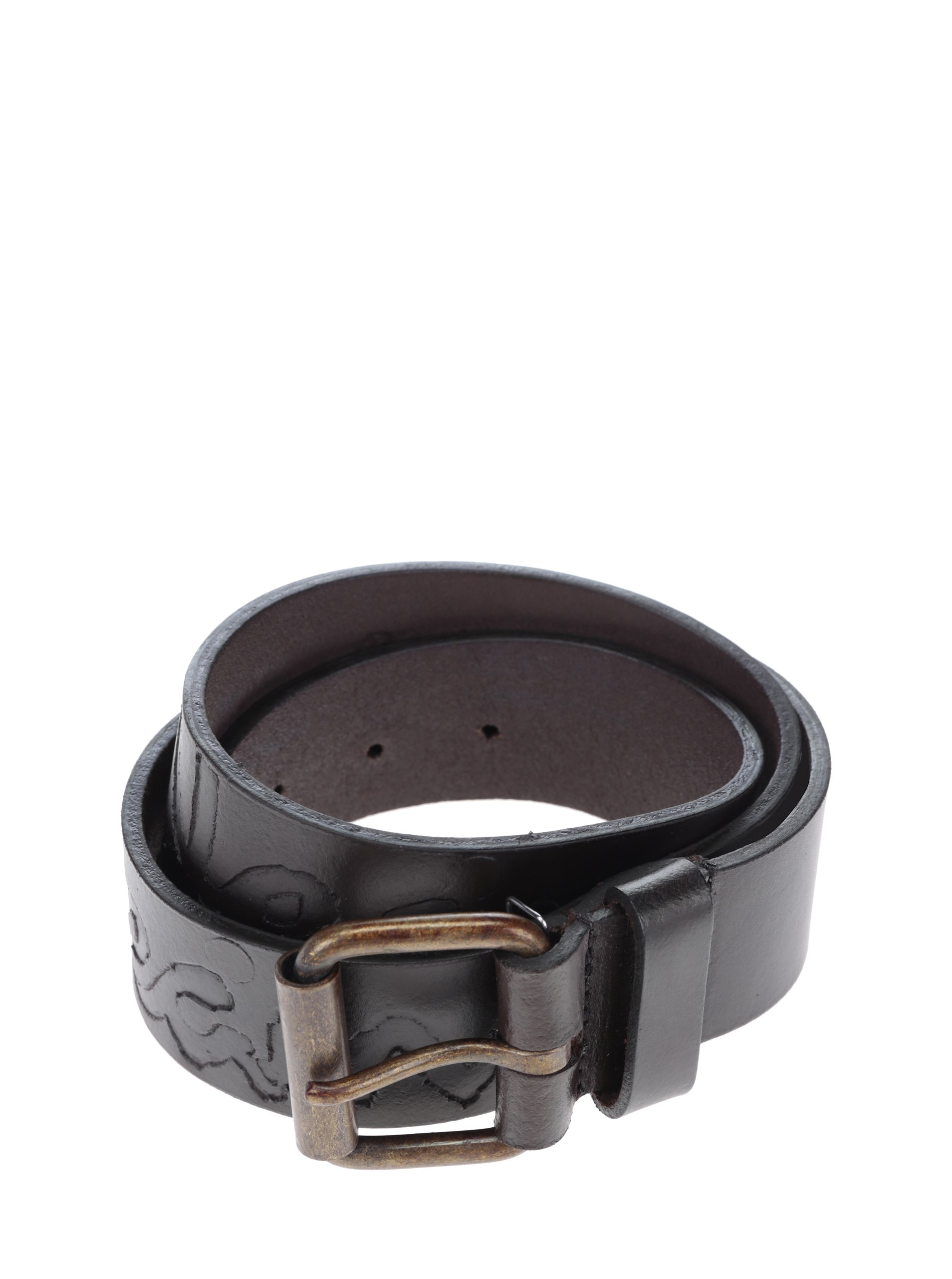 Tmavě hnědý pánský kožený pásek s nápisem Pepe Jeans Hammond