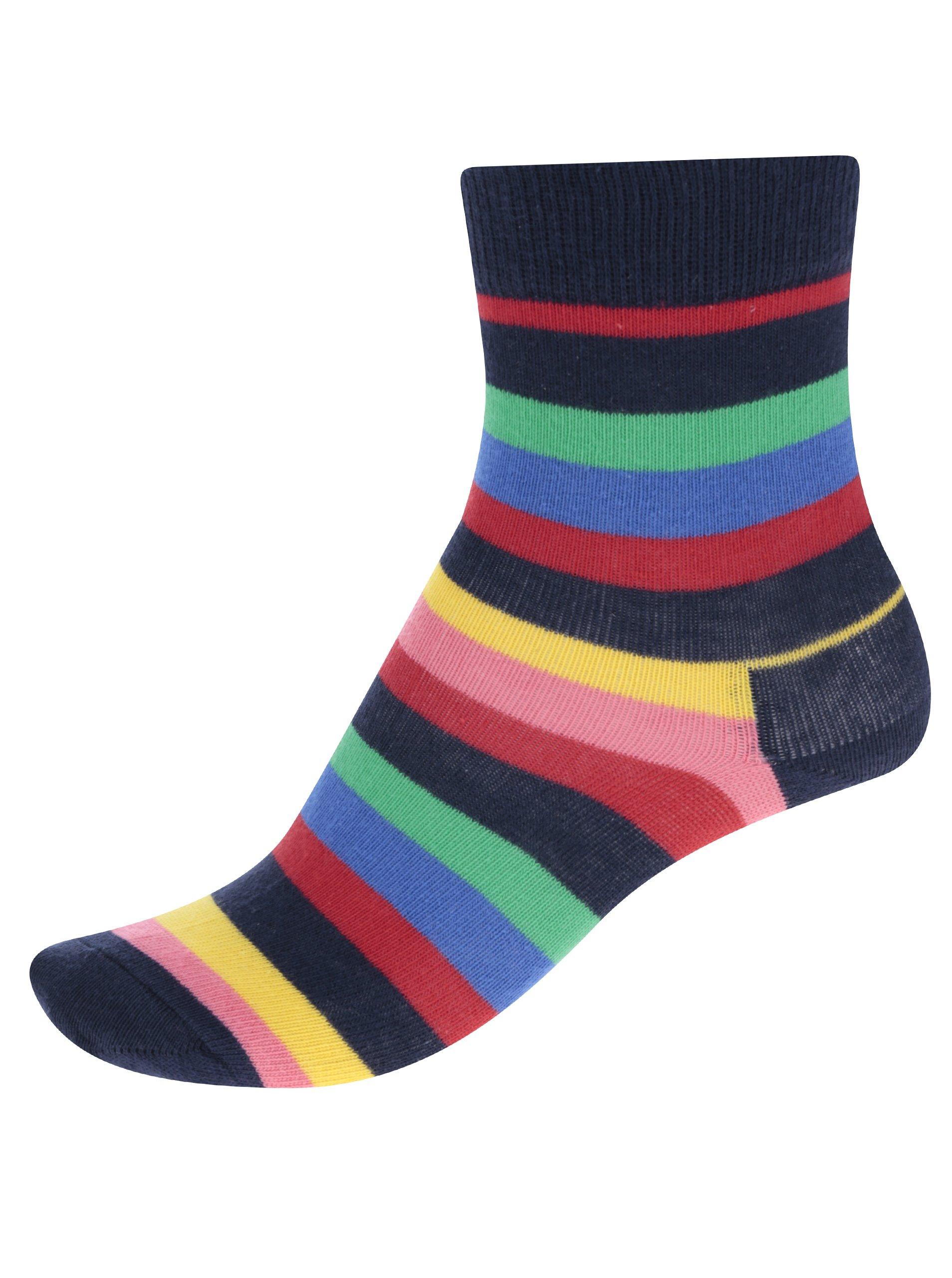 Fotografie Červeno-modré dětské pruhované ponožky Happy Socks Stripe