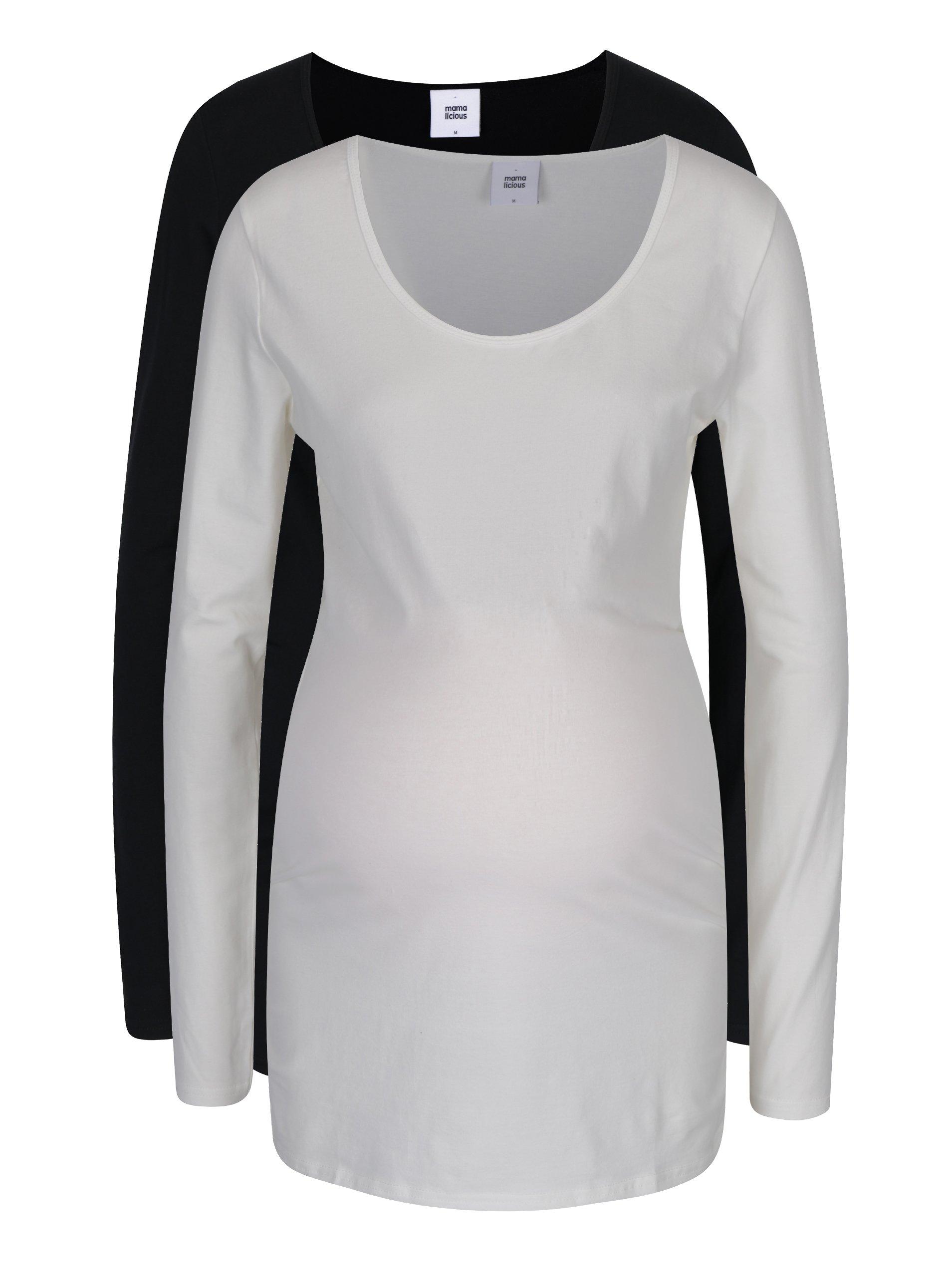 Sada dvou těhotenských triček v černé a krémové barvě Mama.licious Lea