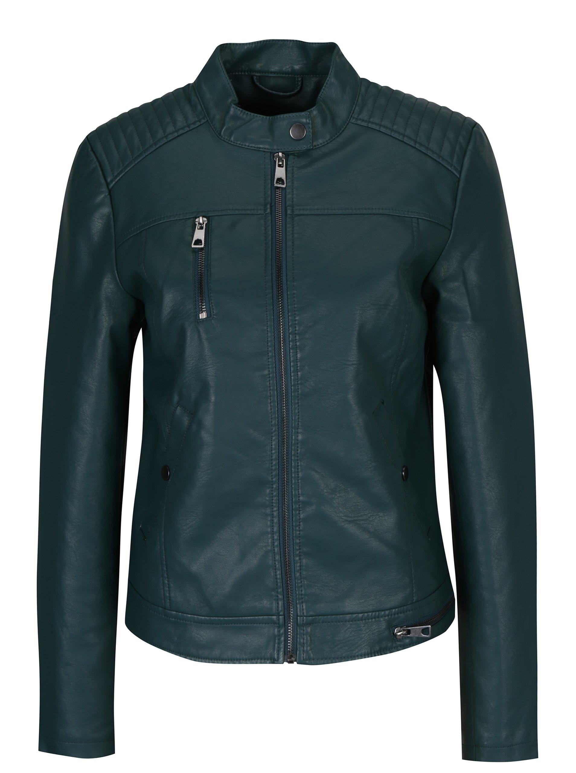 Tmavě zelená koženková bunda VERO MODA Soffy