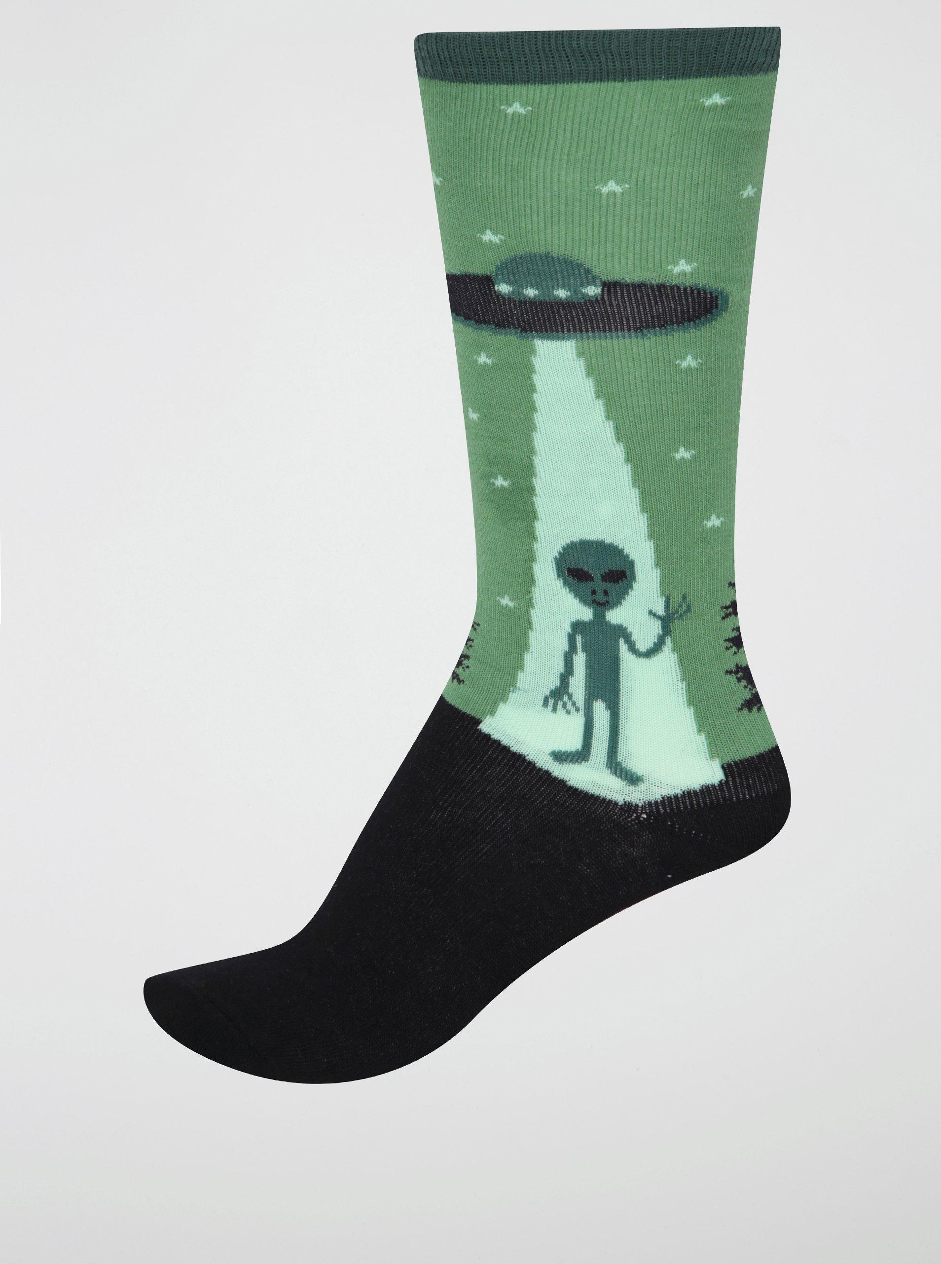 Černo-zelené klučičí podkolenky s mimozemšťanem Sock It to Me I Believe