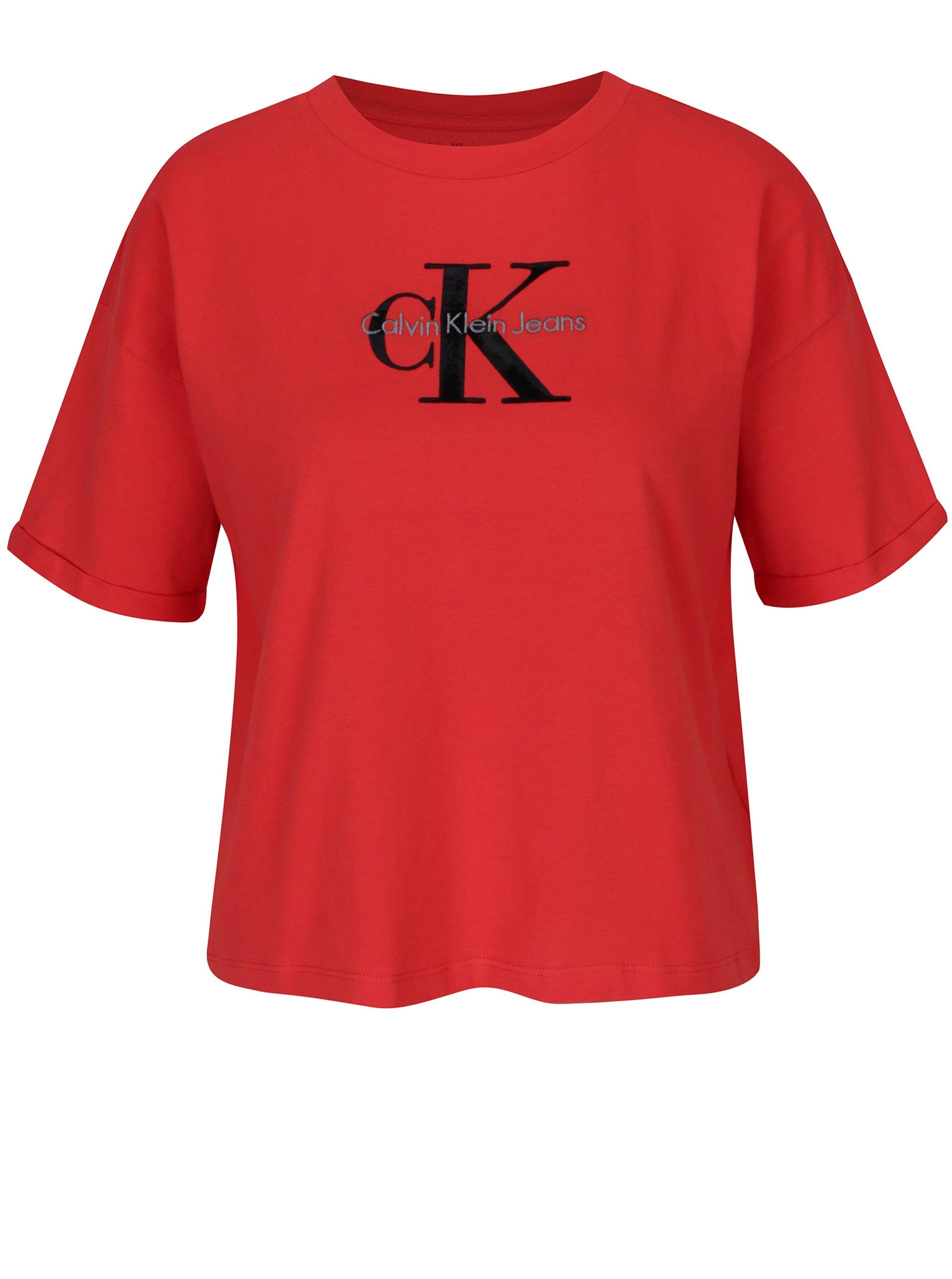 Červený oversize crop top Calvin Klein Jeans Teco