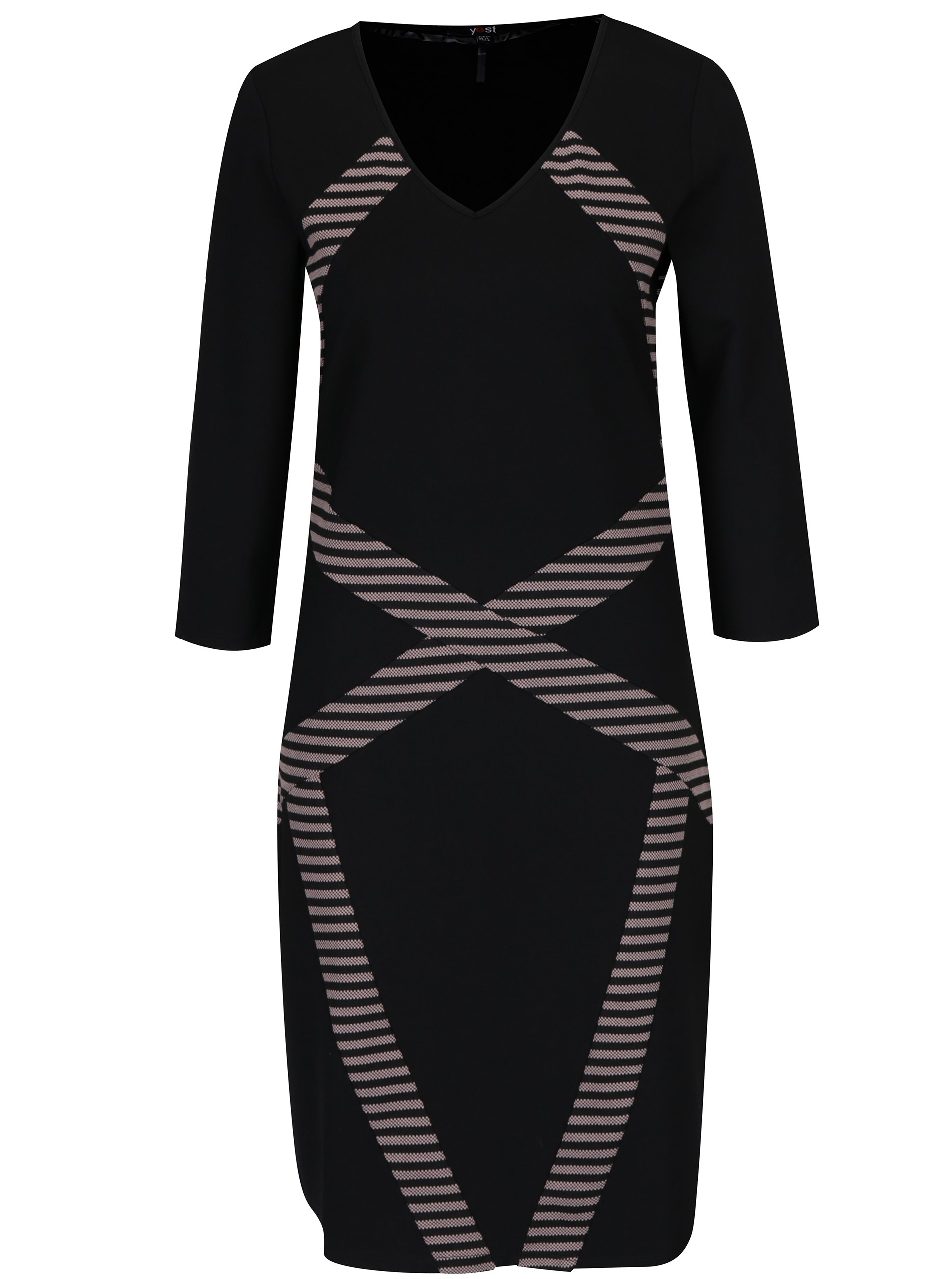 Růžovo-černé vzorované pouzdrové šaty Yest