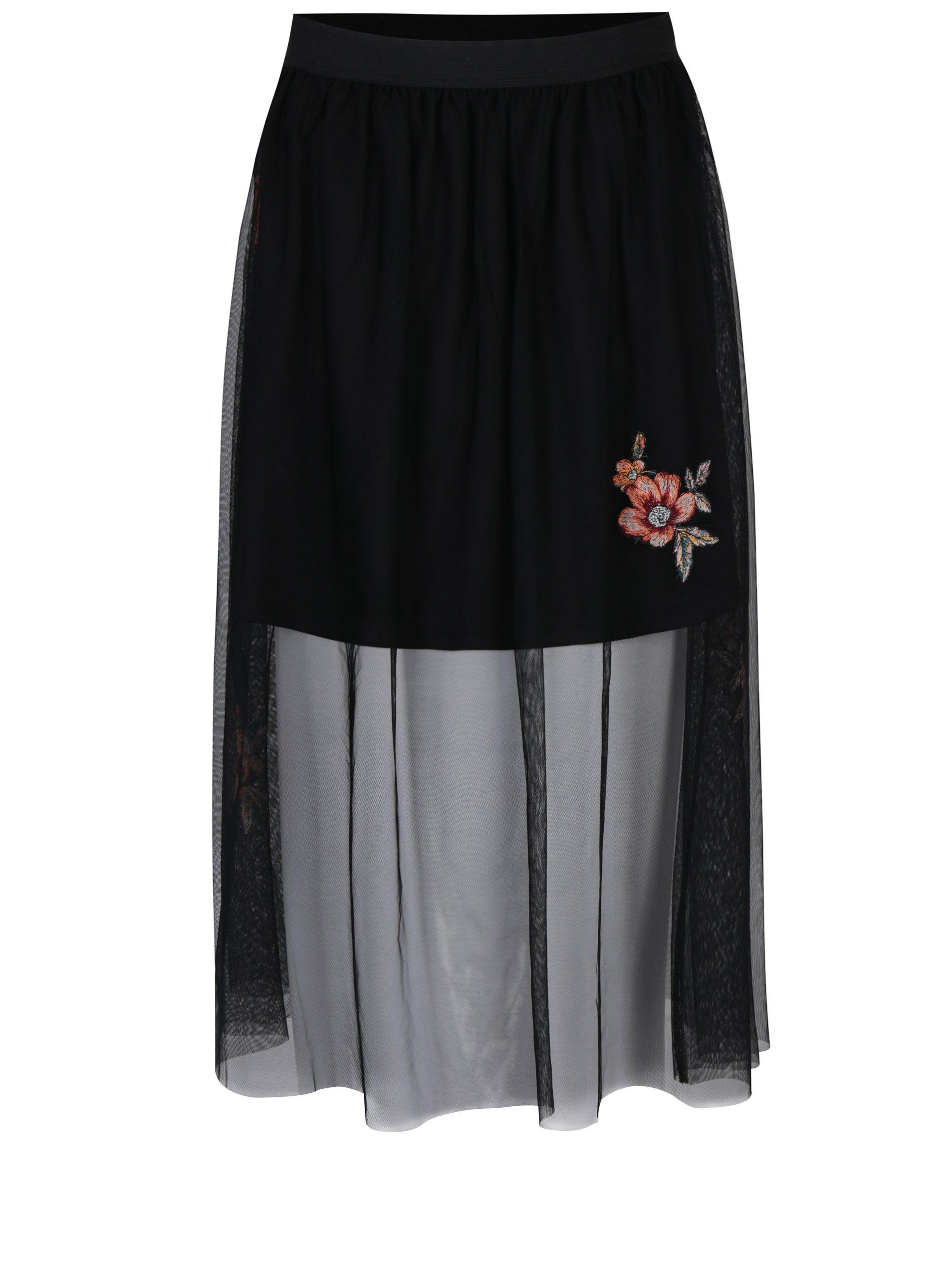 Černá tylová sukně s nášivkami květů ONLY Mary