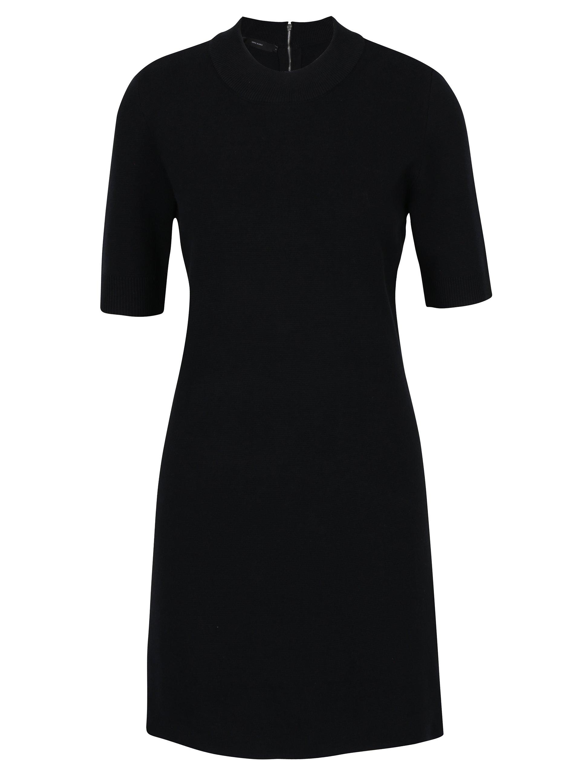 Černé svetrové šaty s krátkým rukávem VERO MODA Barstow