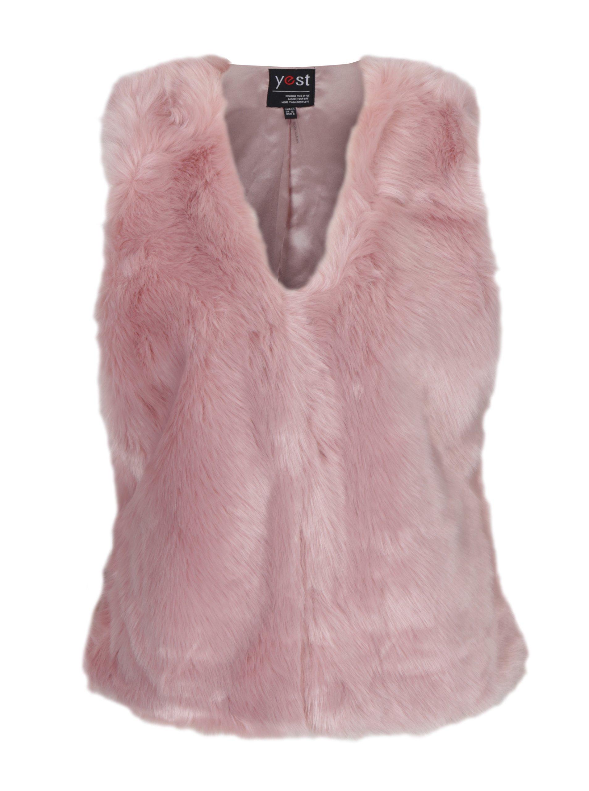Růžová vesta z umělé kožešiny Yest
