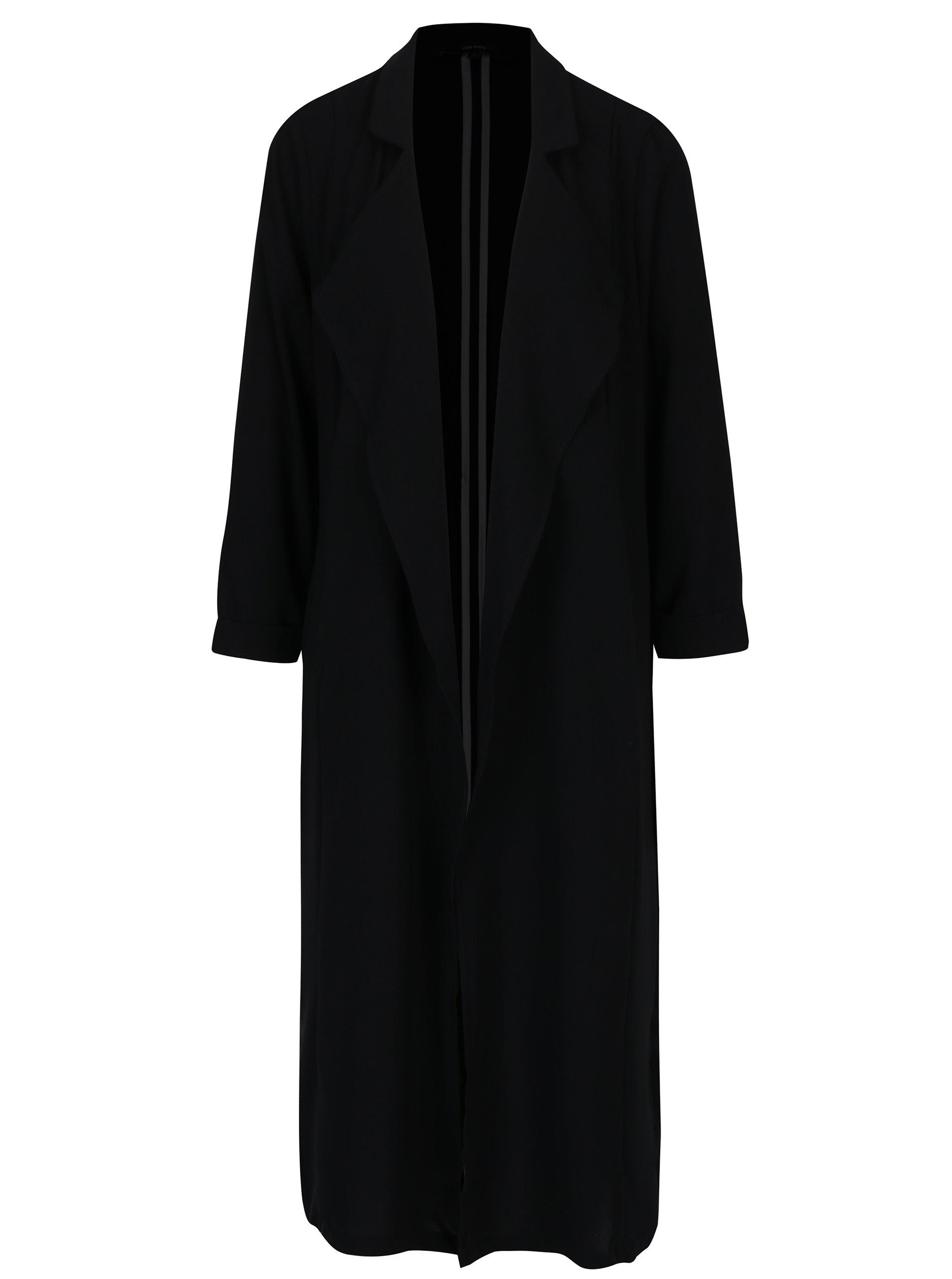 Černý dlouhý lehký kabát s 3/4 rukávem VERO MODA Libi