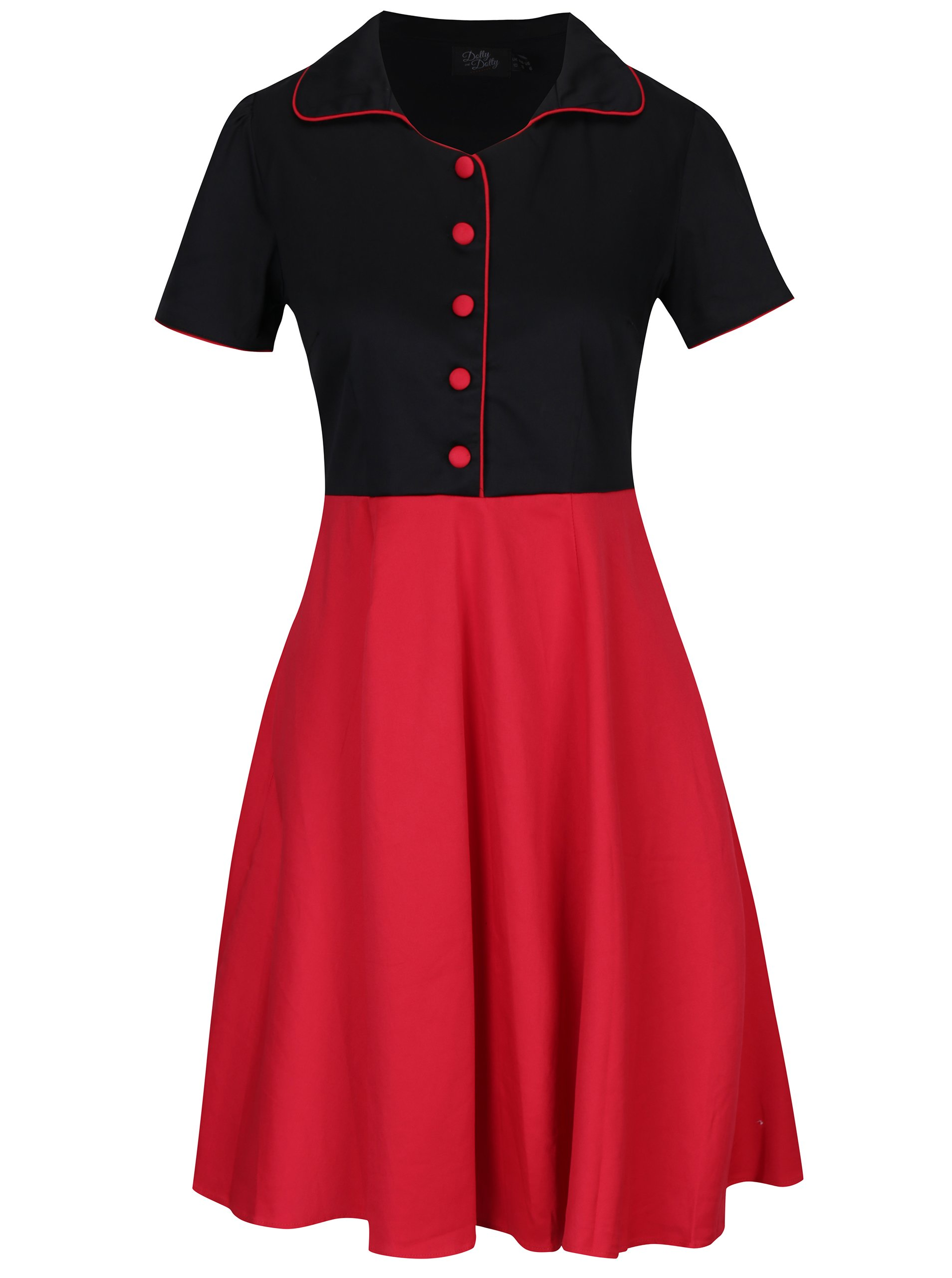 Černo-červené šaty s knoflíky Dolly & Dotty Penelope
