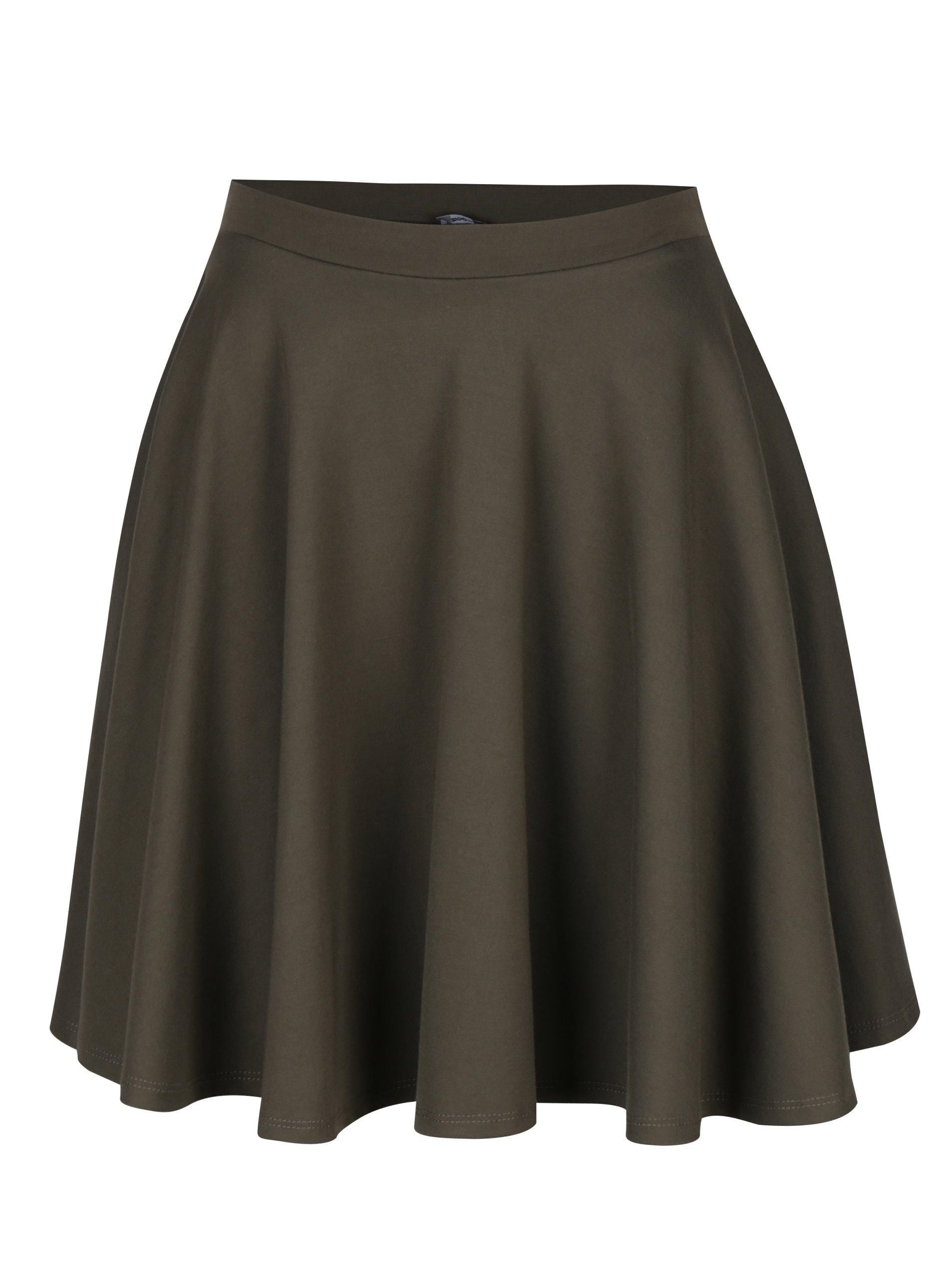 Kaki kolesová sukňa s vreckami ZOOT