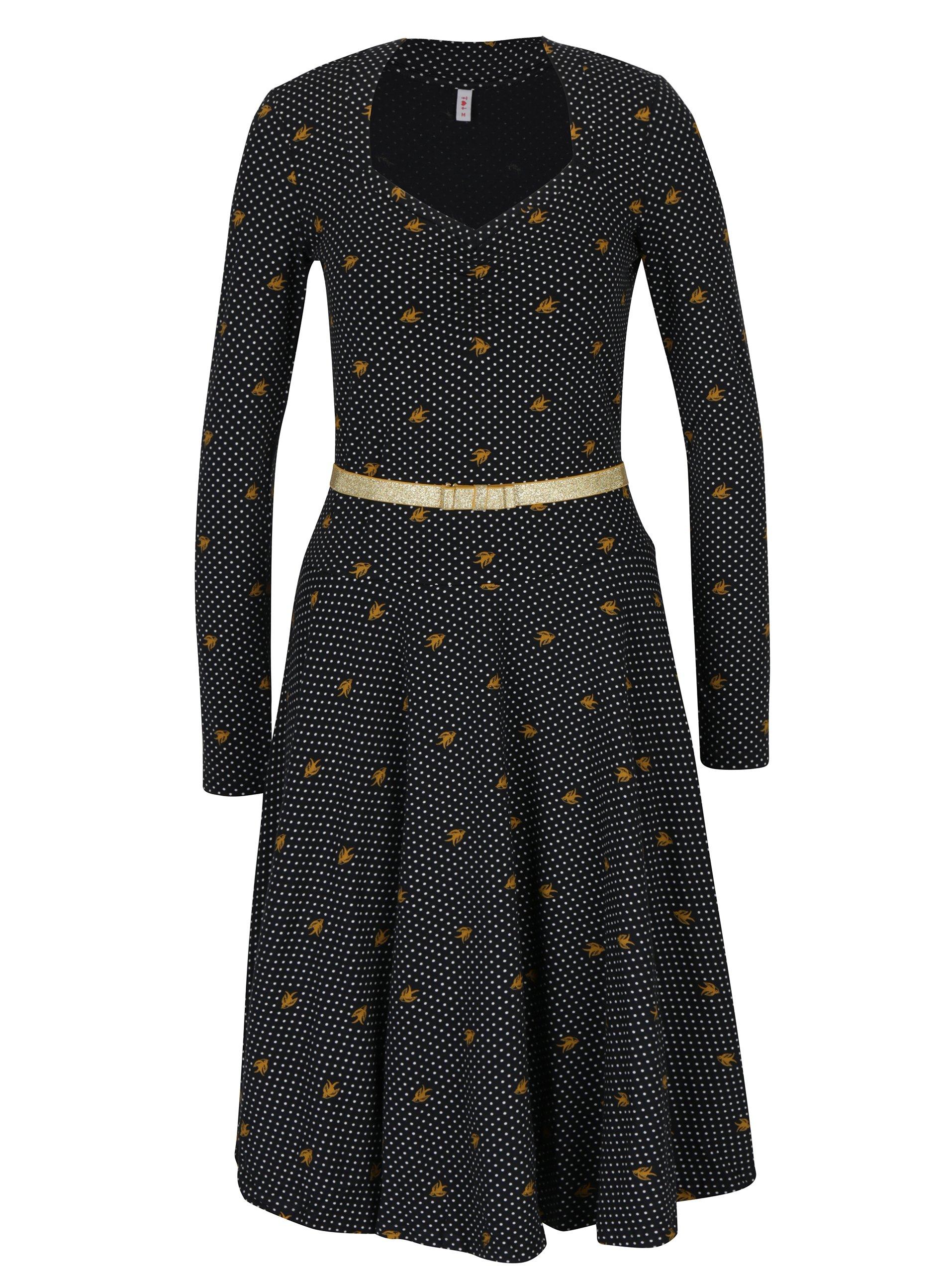 Černé vzorované šaty s dlouhým rukávem Blutsgeschwister