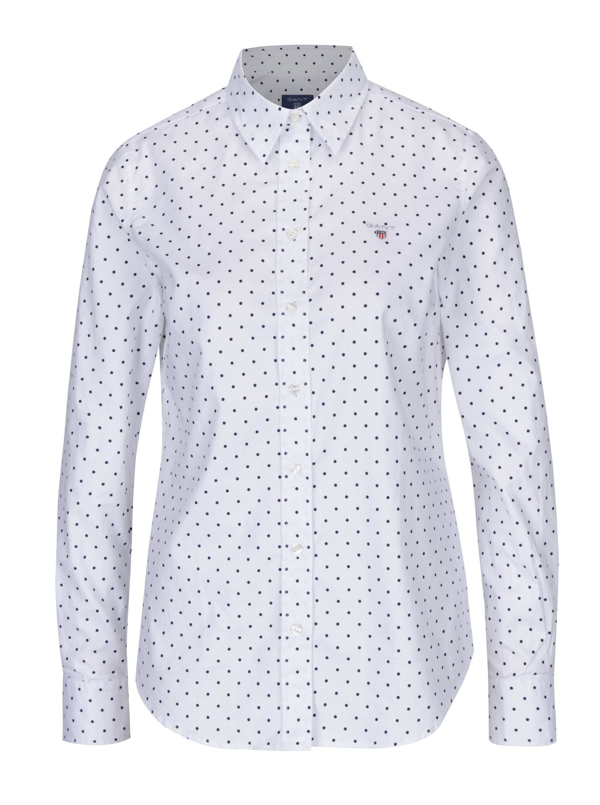7d845611398 Bílá dámská puntíkovaná košile GANT – ŽENY   Topy