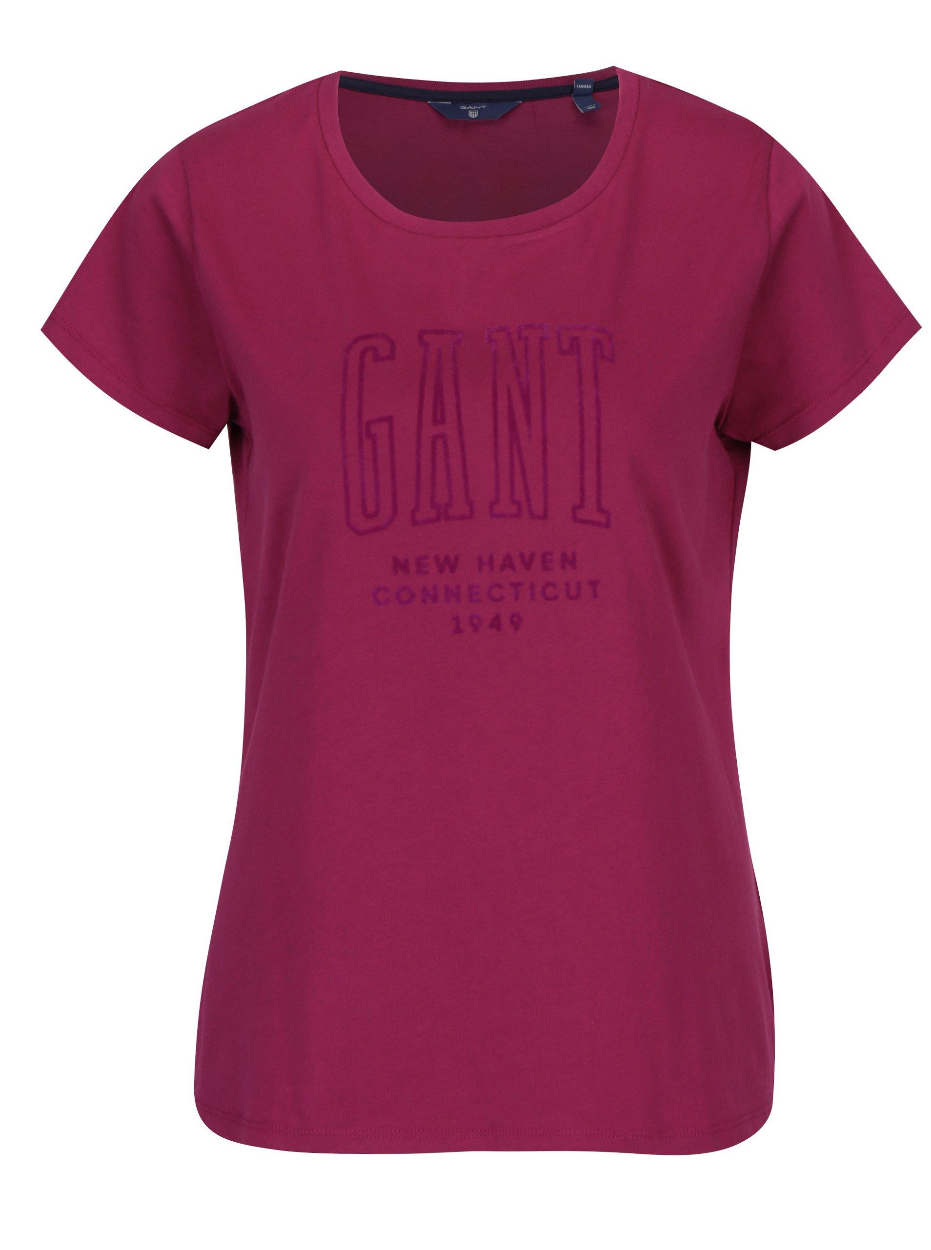 Tmavě růžové dámské tričko s potiskem GANT