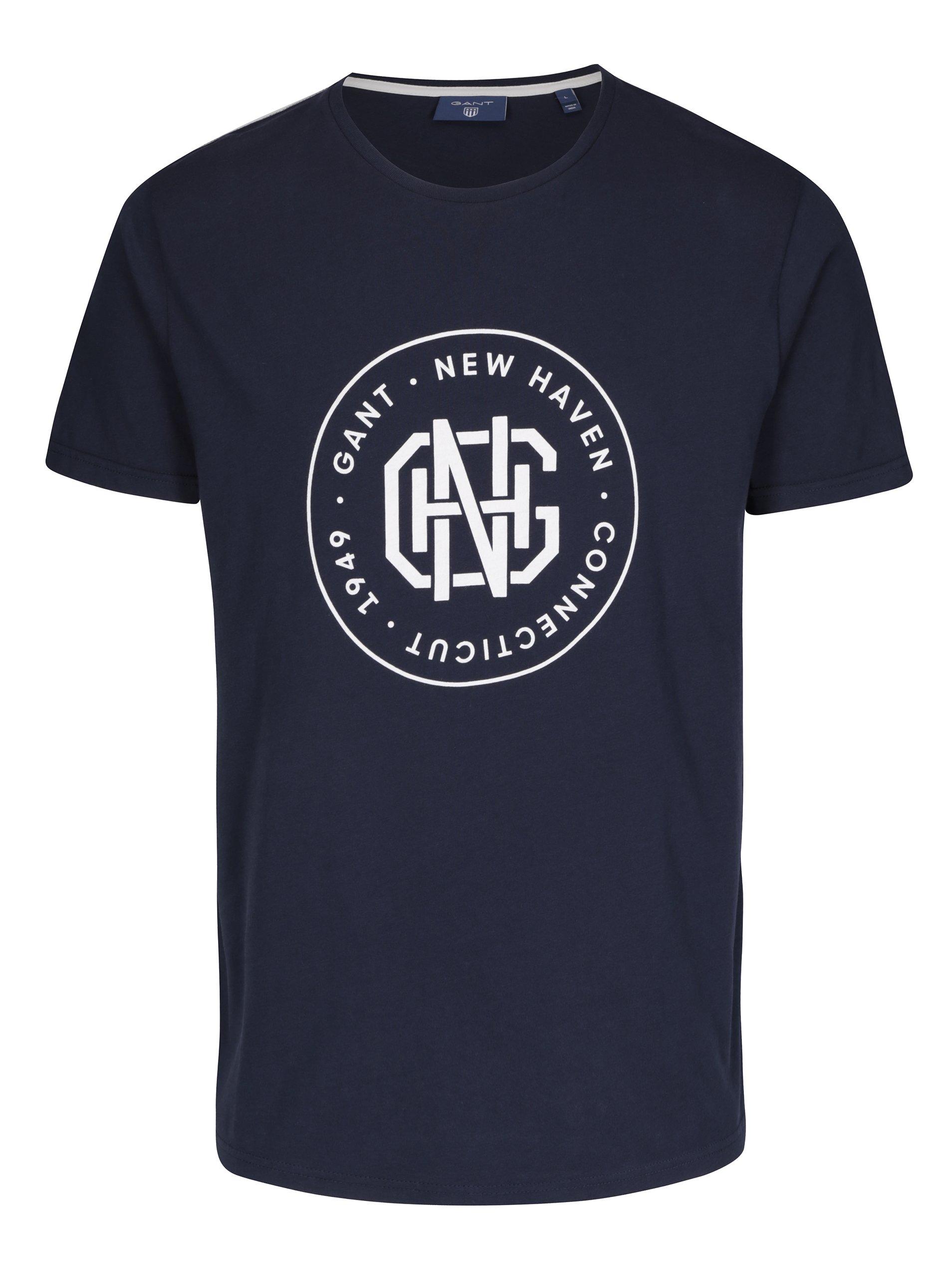 Tmavě modré pánské tričko s potiskem GANT