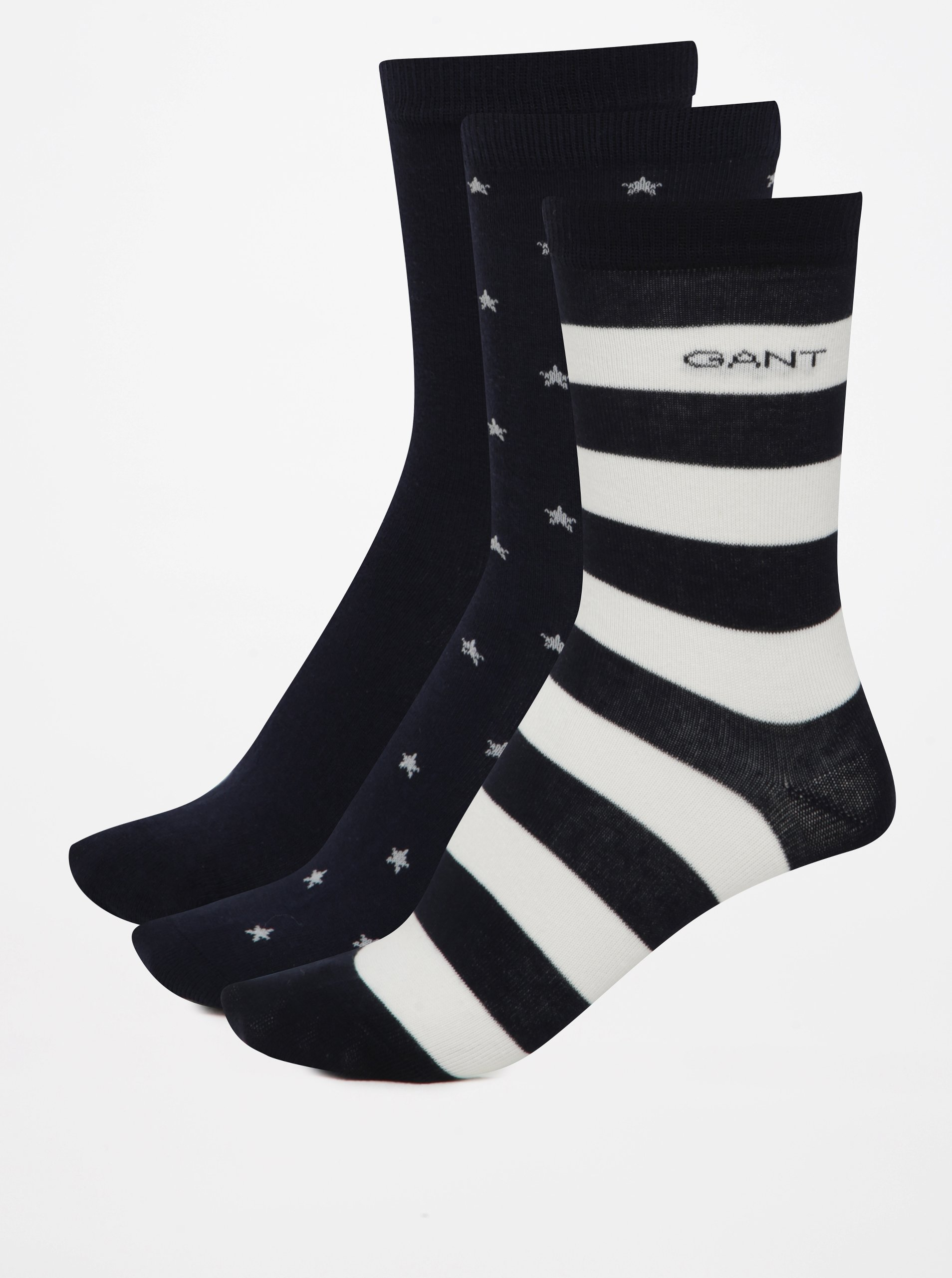 Sada tří párů tmavě modrých dámských vzorovaných ponožek GANT