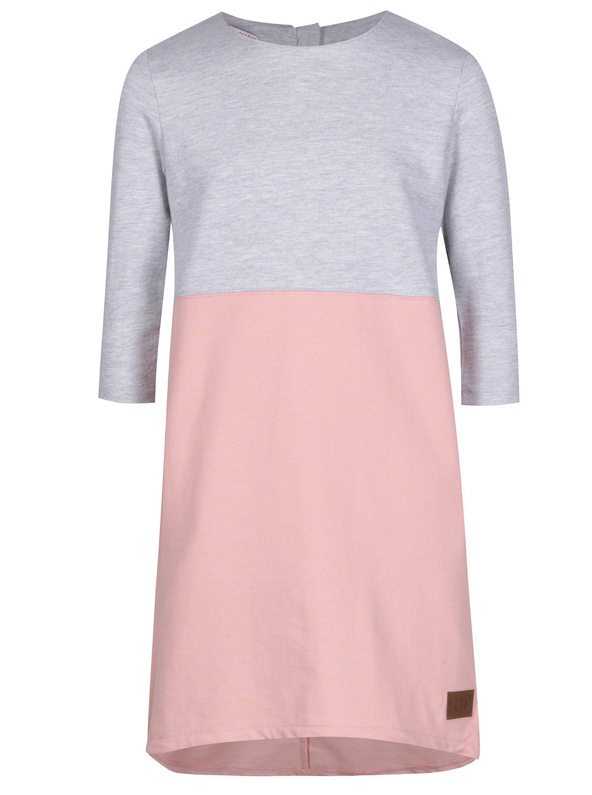 Šedo-růžové holčičí mikinové šaty 5.10.15.