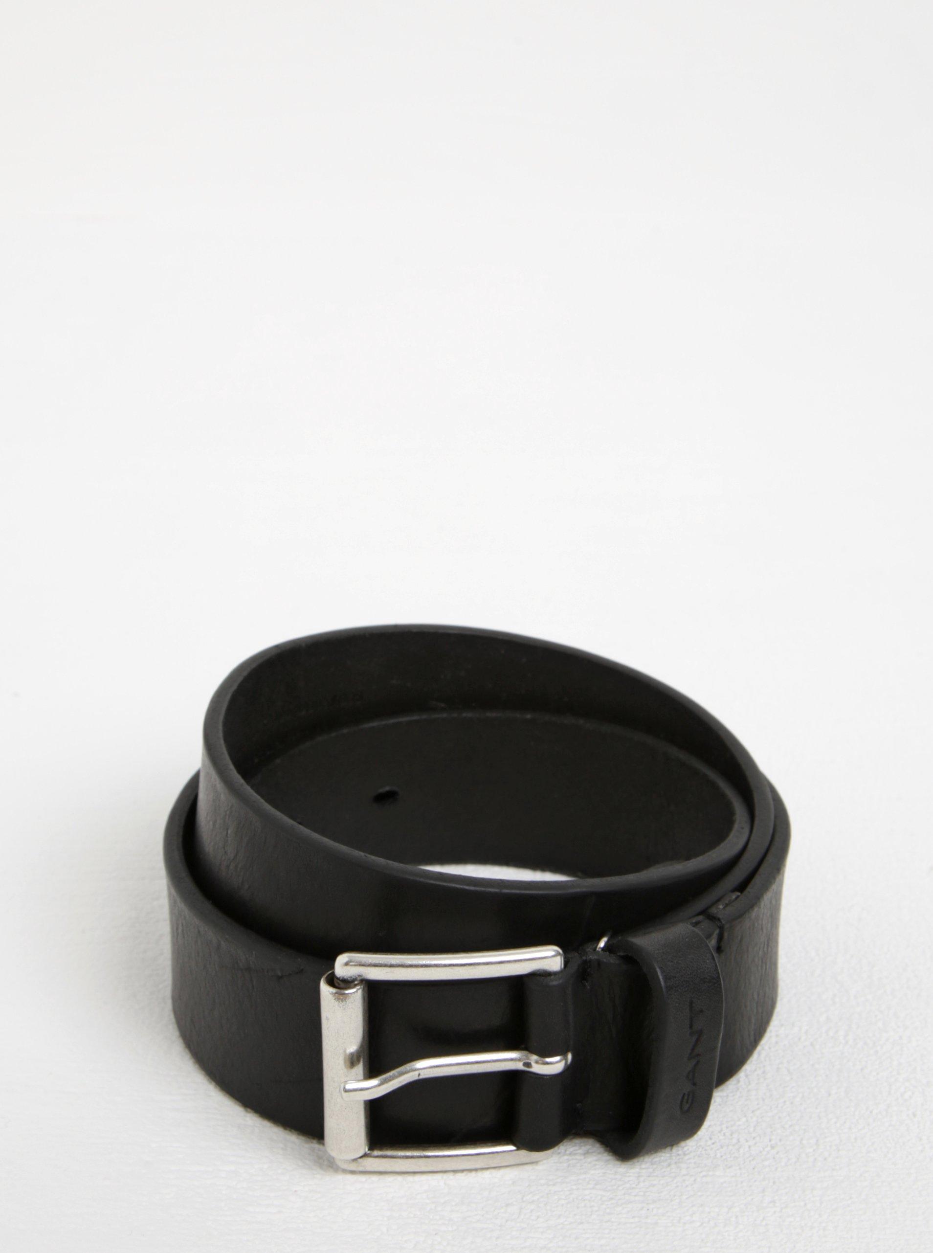 Černý pánský kožený pásek se sponou GANT
