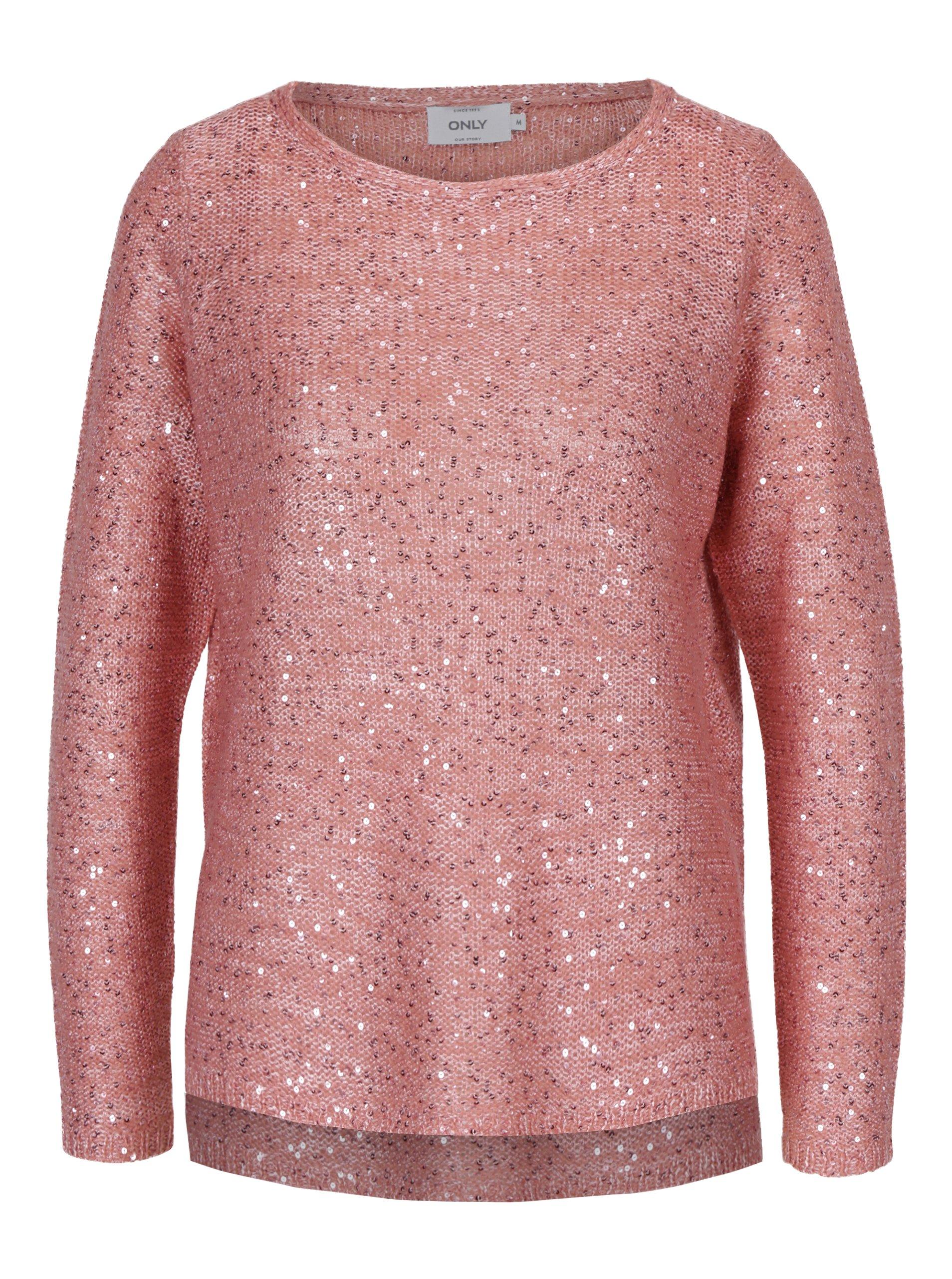 c383f9f50041 Růžový pletený svetr s flitry ONLY Adele