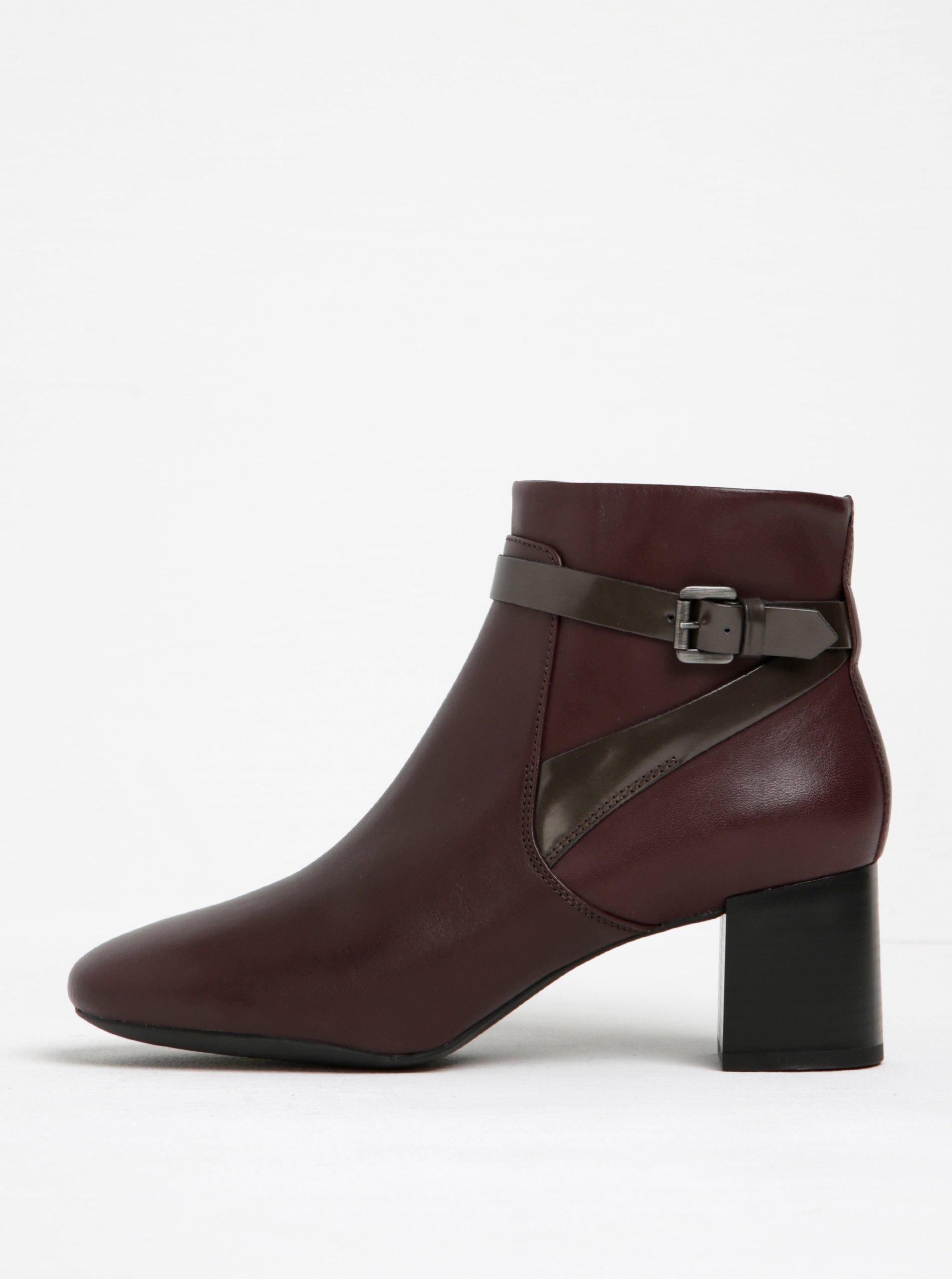 Vínové dámske kožené členkové topánky na podpätku Geox Audalies