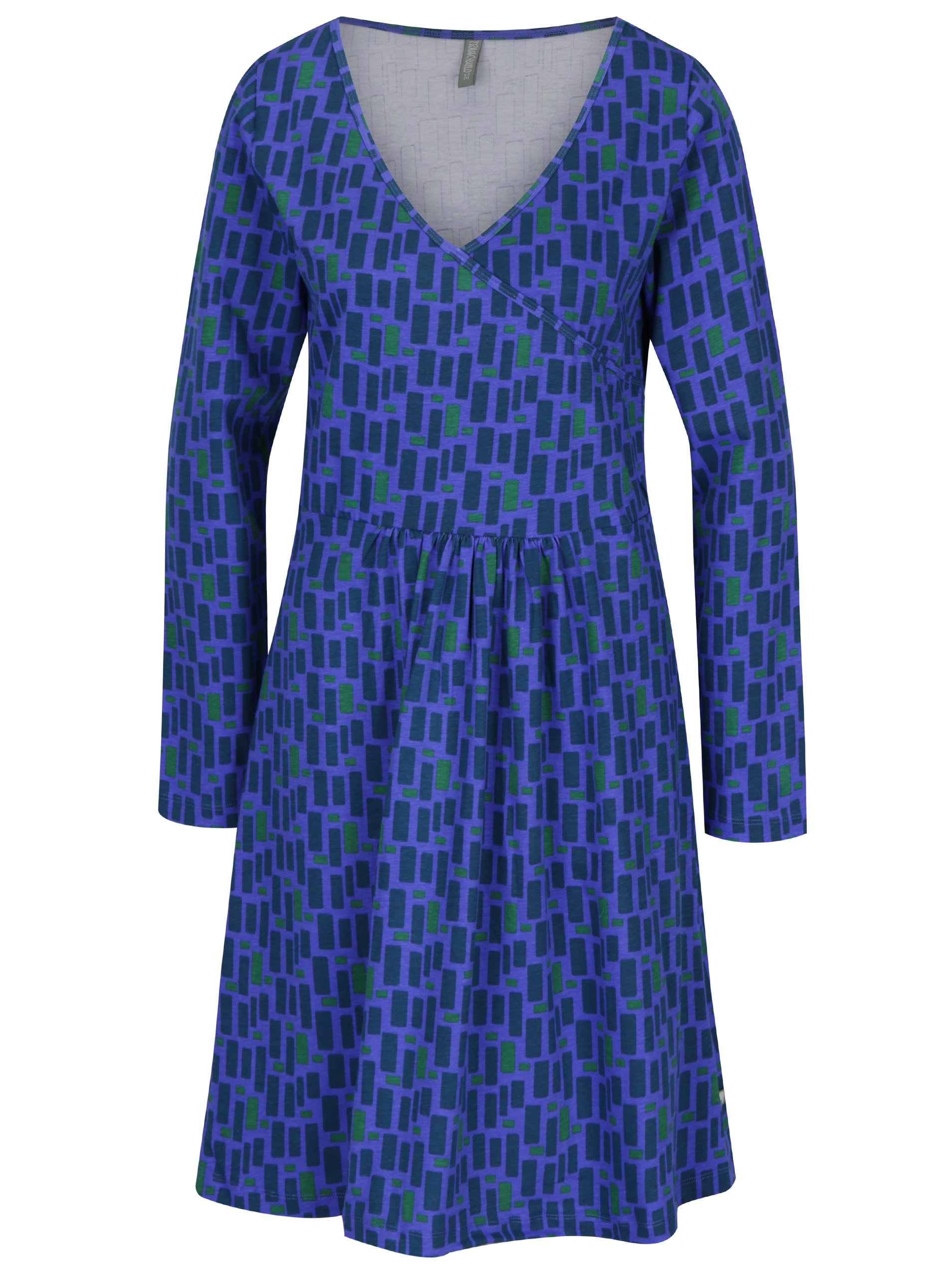 Zeleno-fialové vzorované šaty s véčkovým výstřihem Tranquillo Axun
