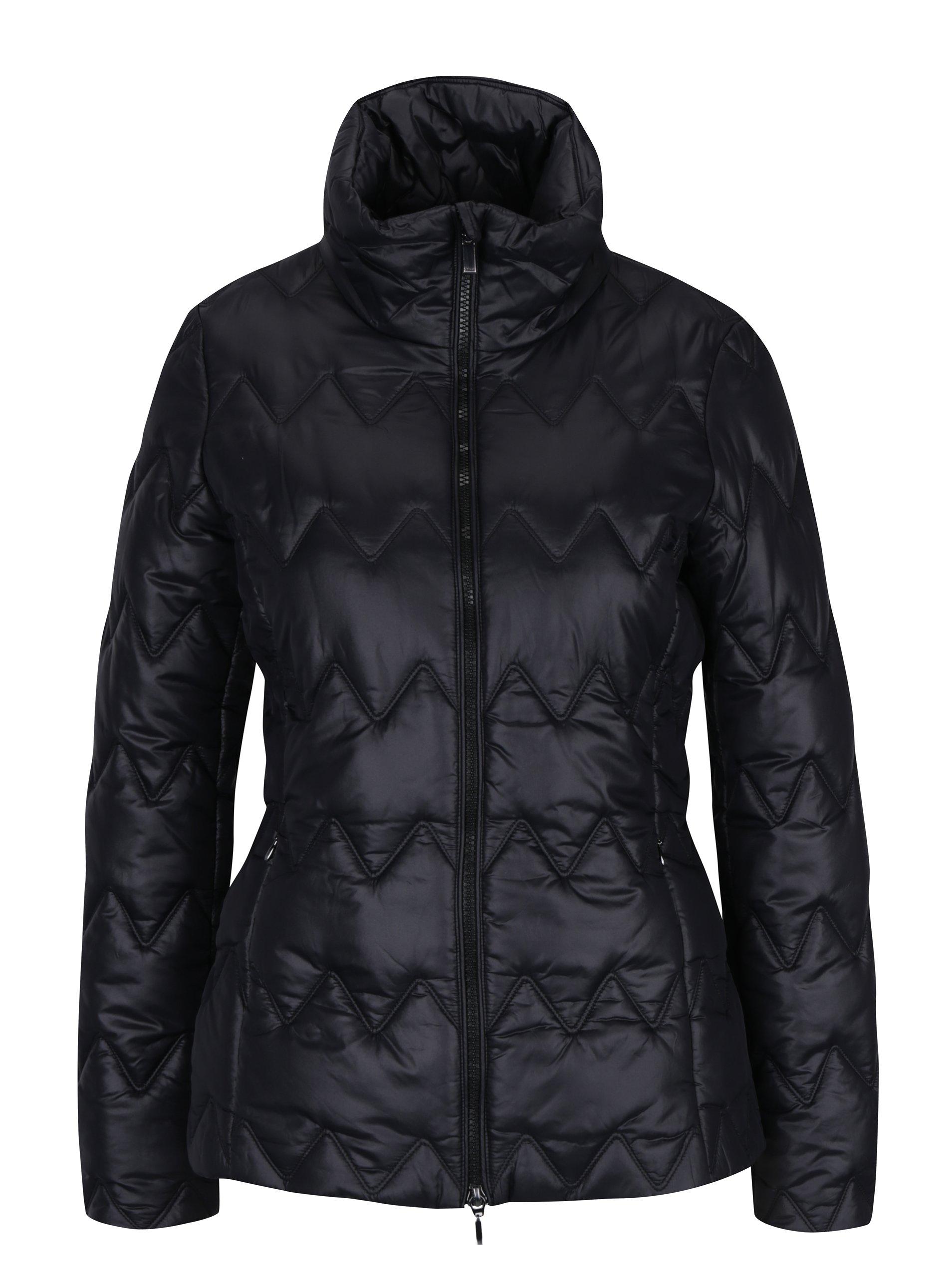 Černá dámská prošívaná funkční bunda s límcem Geox