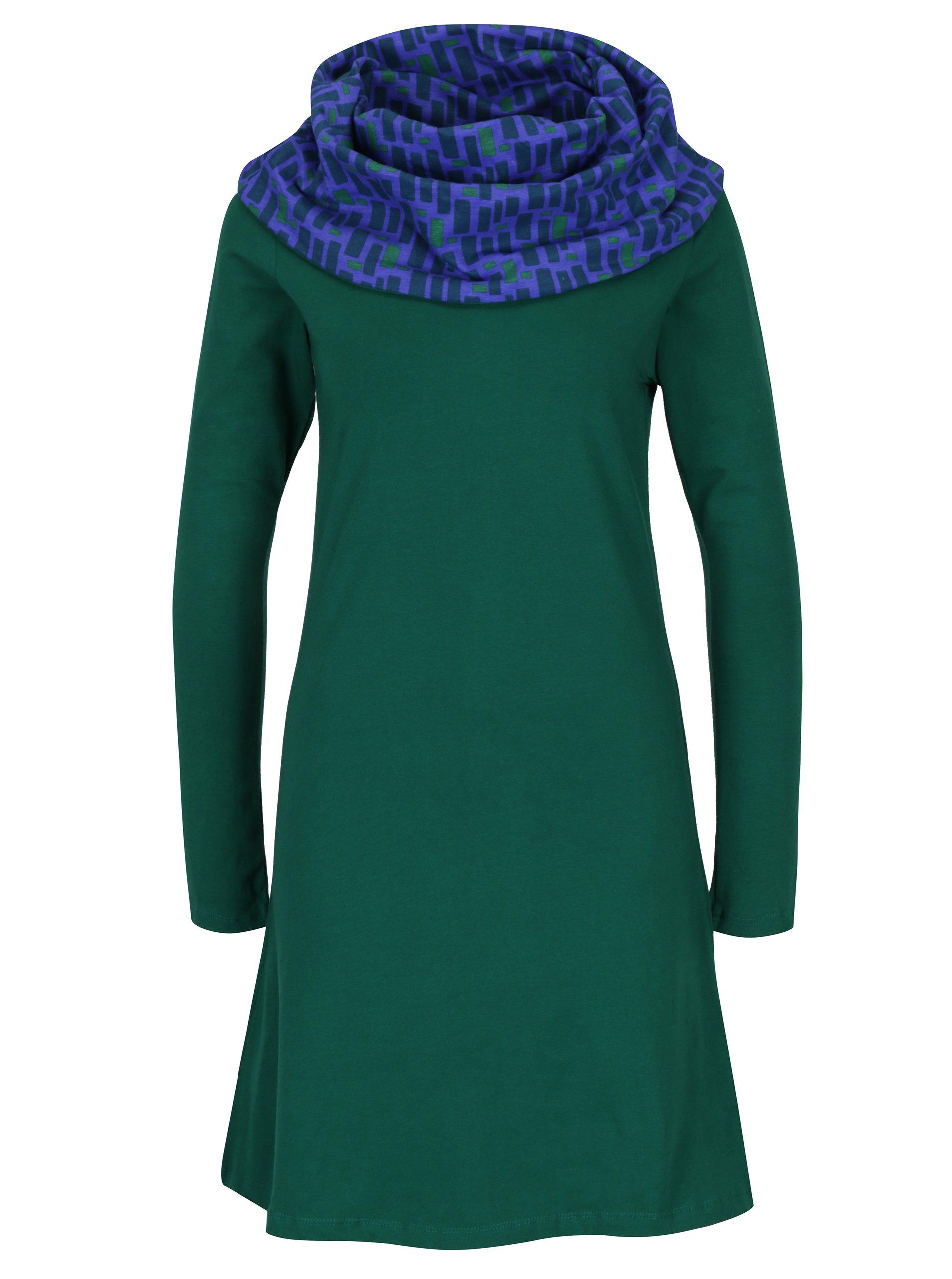Zelené šaty s vysokým vzorovaným límcem Tranquillo Valence