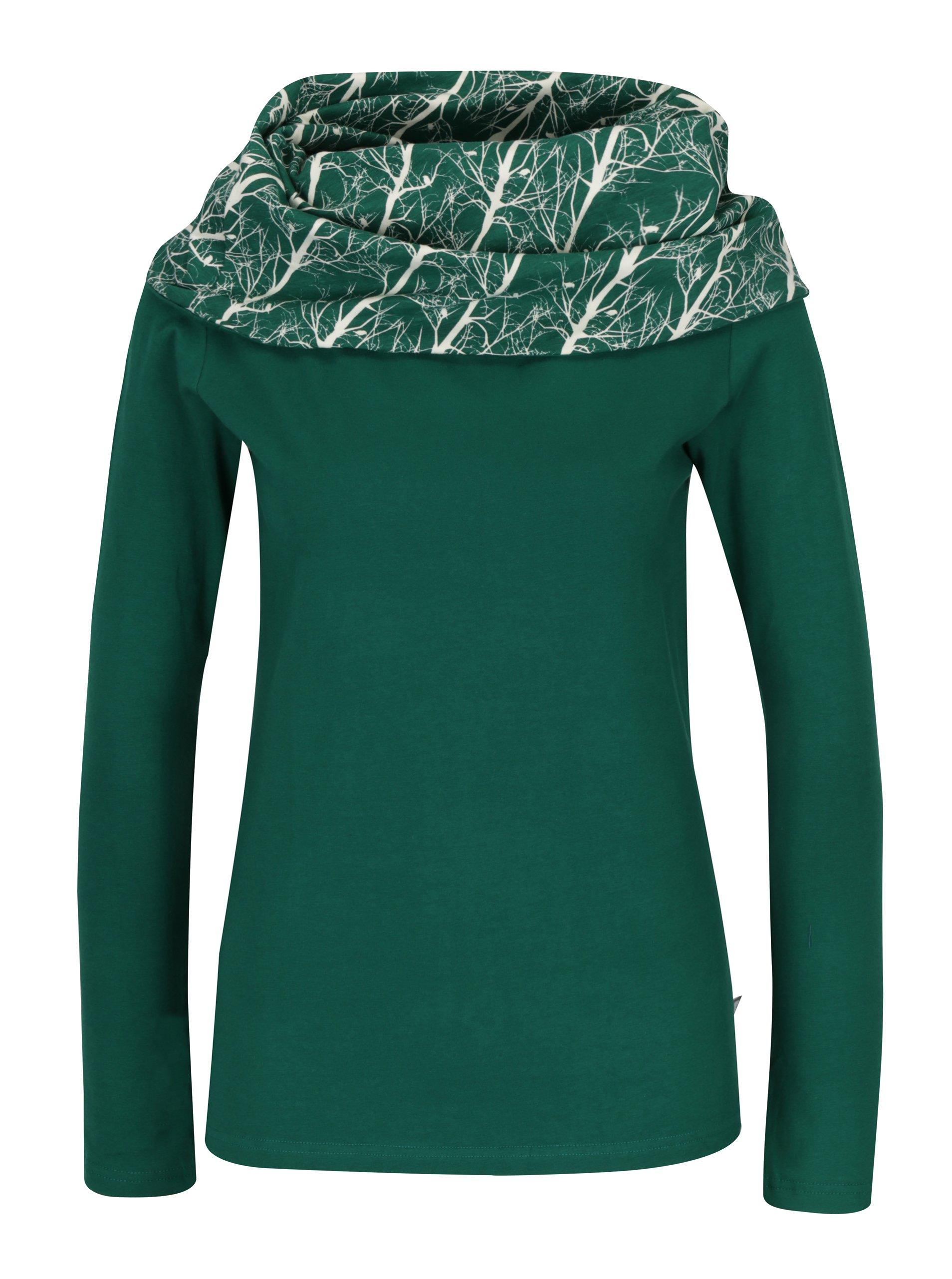 Zelené tričko s vysokým vzorovaným límcem Tranquillo Santiago